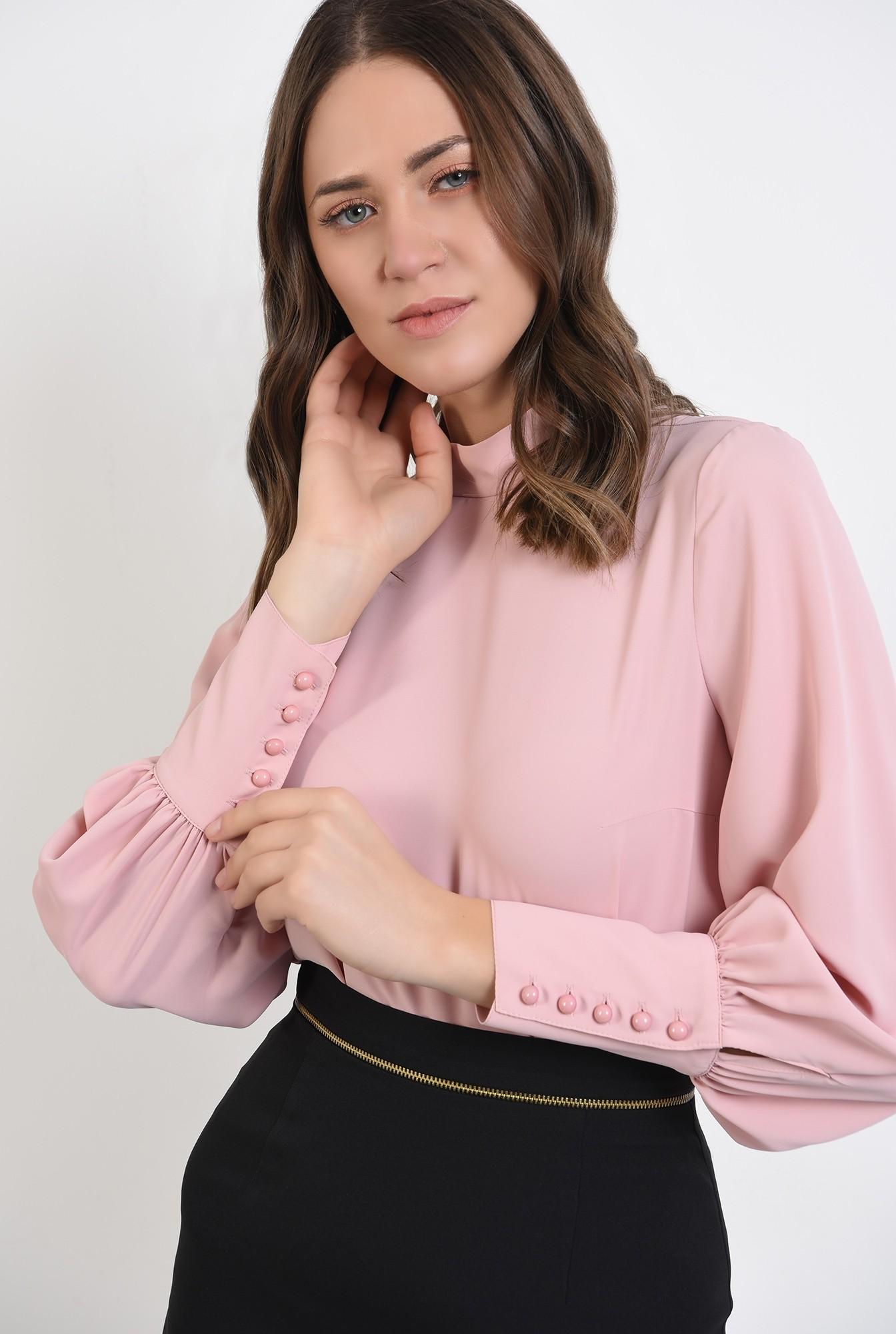 2 -  bluza office, roz, guler perkins, maneci lungi, Poema