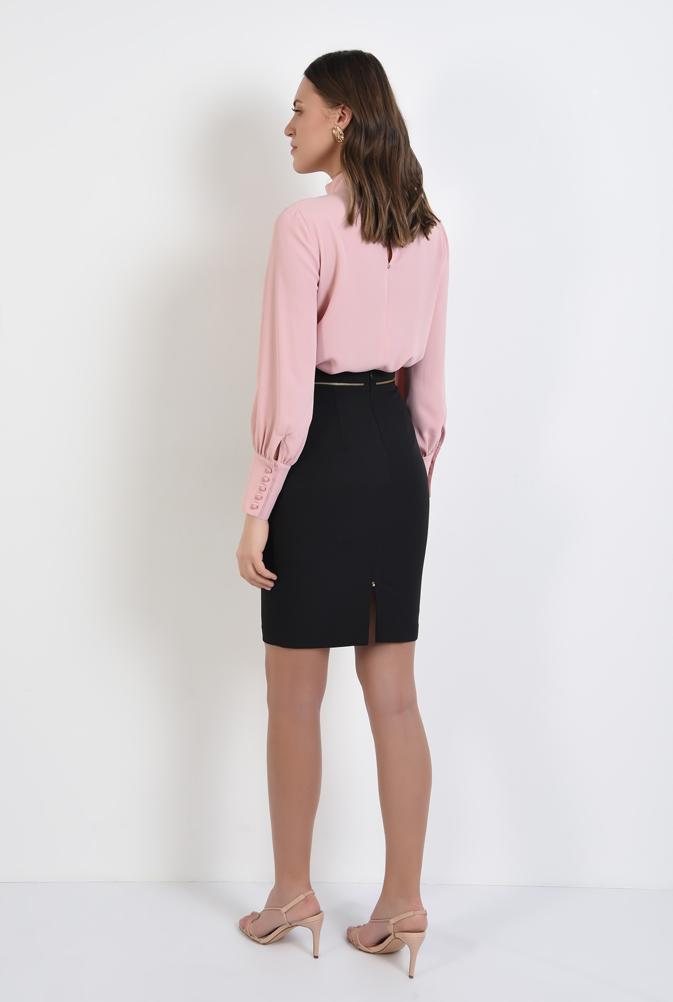 1 -  bluza office, roz, guler perkins, maneci lungi, Poema