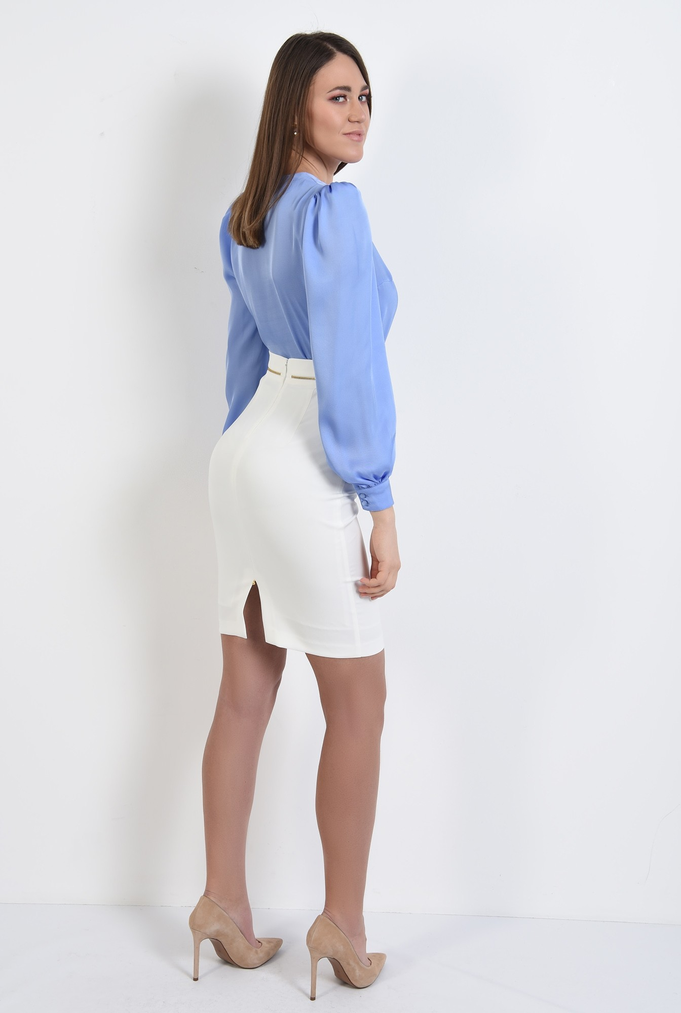 1 - bluza de primavara, office, cu nasturi, maneci lungi