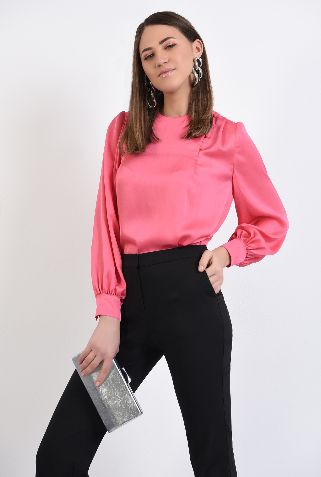 0 - bluza eleganta, cu nasturi decorativi, maneci lungi, din satin, bluza de ocazie