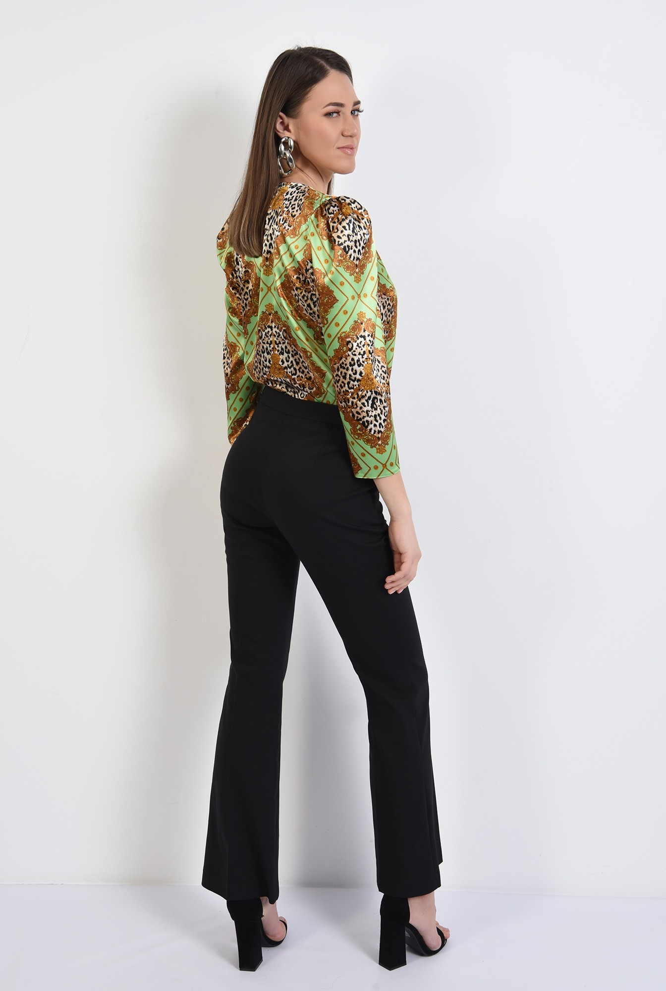 1 - 360 - bluza eleganta, cu anchior, maneci midi, satin animal print