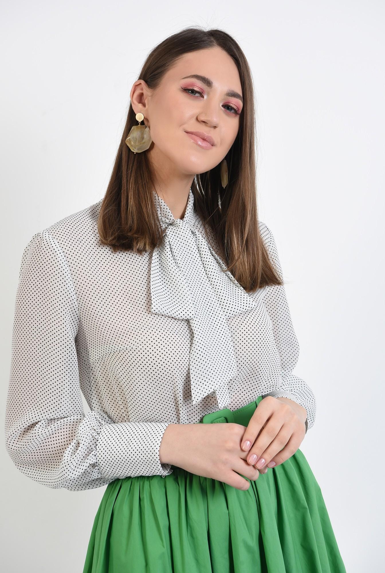 2 - bluza din chiffon, cu buline, bluza cu imprimeu, guler esarfa
