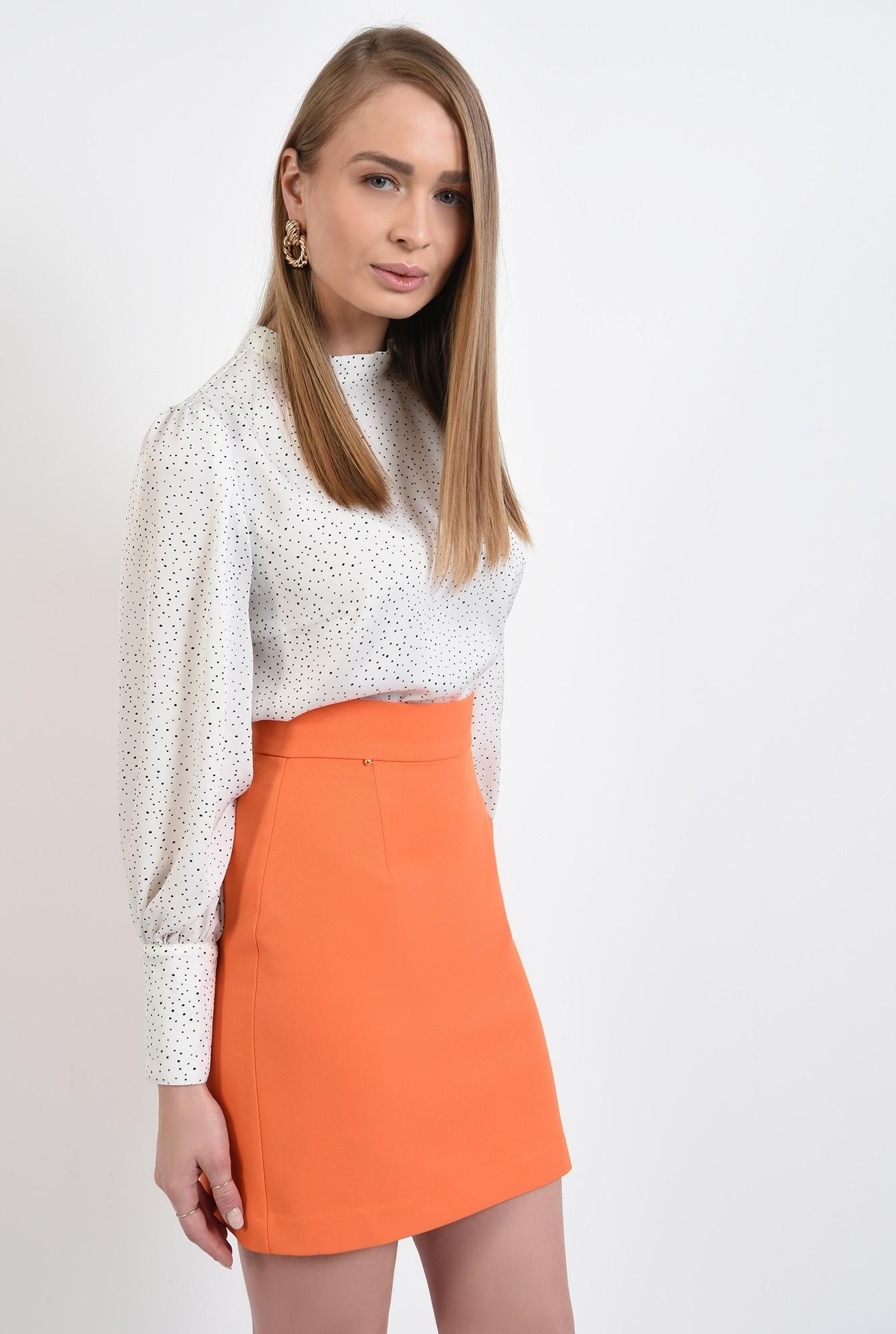 2 - 360 - bluza casual, cu picouri, alb-negru, maneci bufante, guler mic aplicat