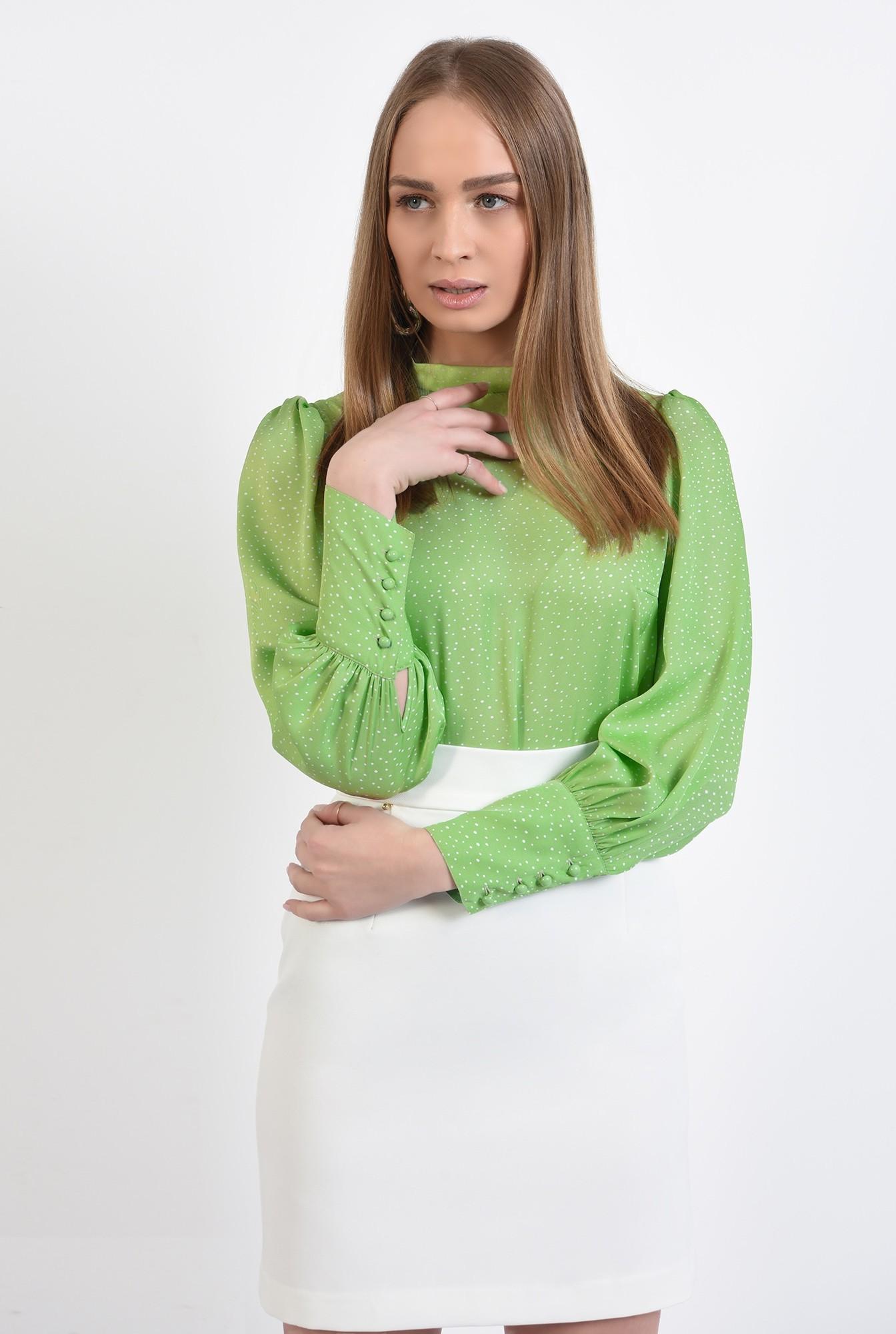 2 - bluza casual, cu buline, maneci bufante, bluza de primavara