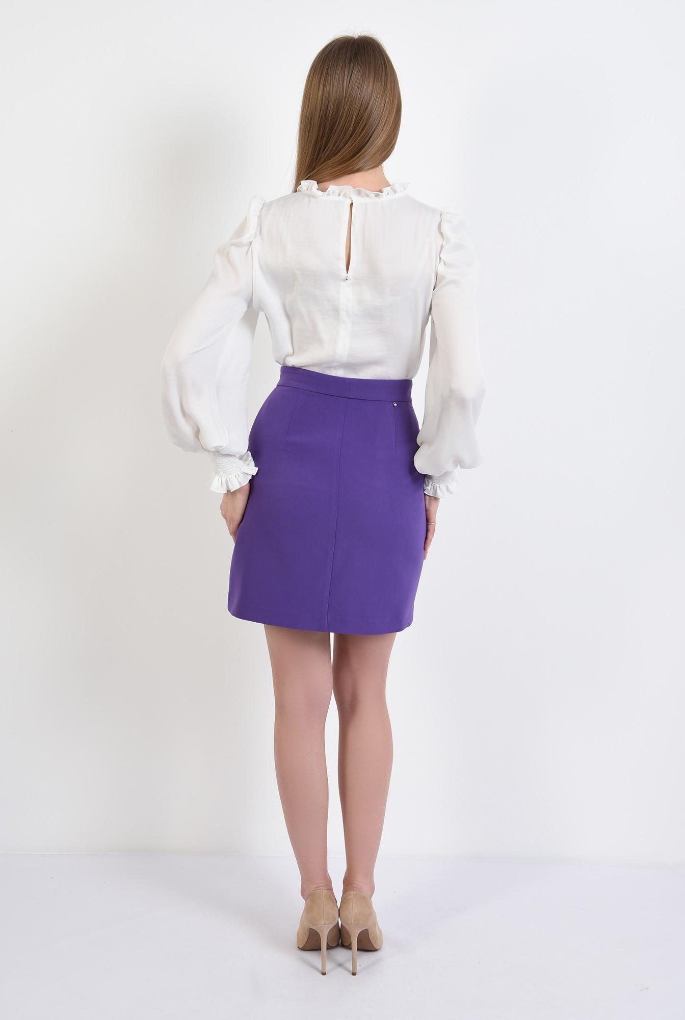 1 - bluza casual, satinata, cu guler incretit, maneci lungi, ivoar