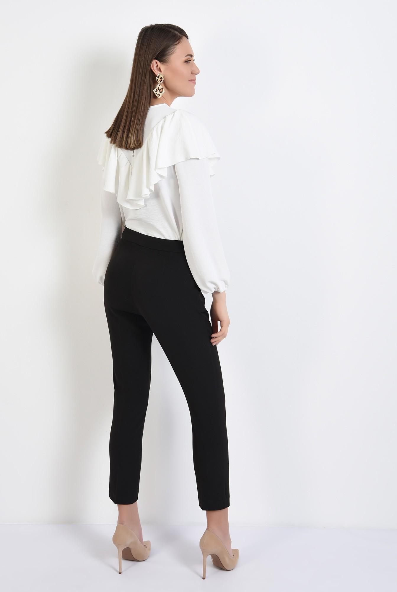 1 - bluza casual, cu platca, volan, maneci bufante, alb, bluza de primavara