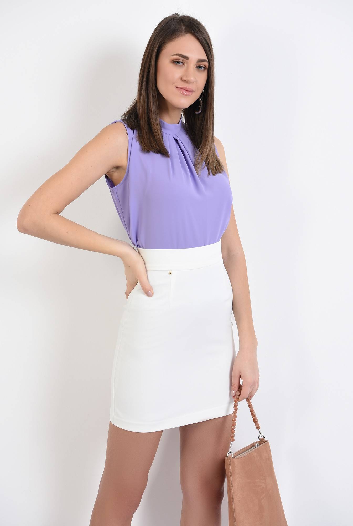 0 - bluza office, pliuri, guler mic, lila, bluza de primavara