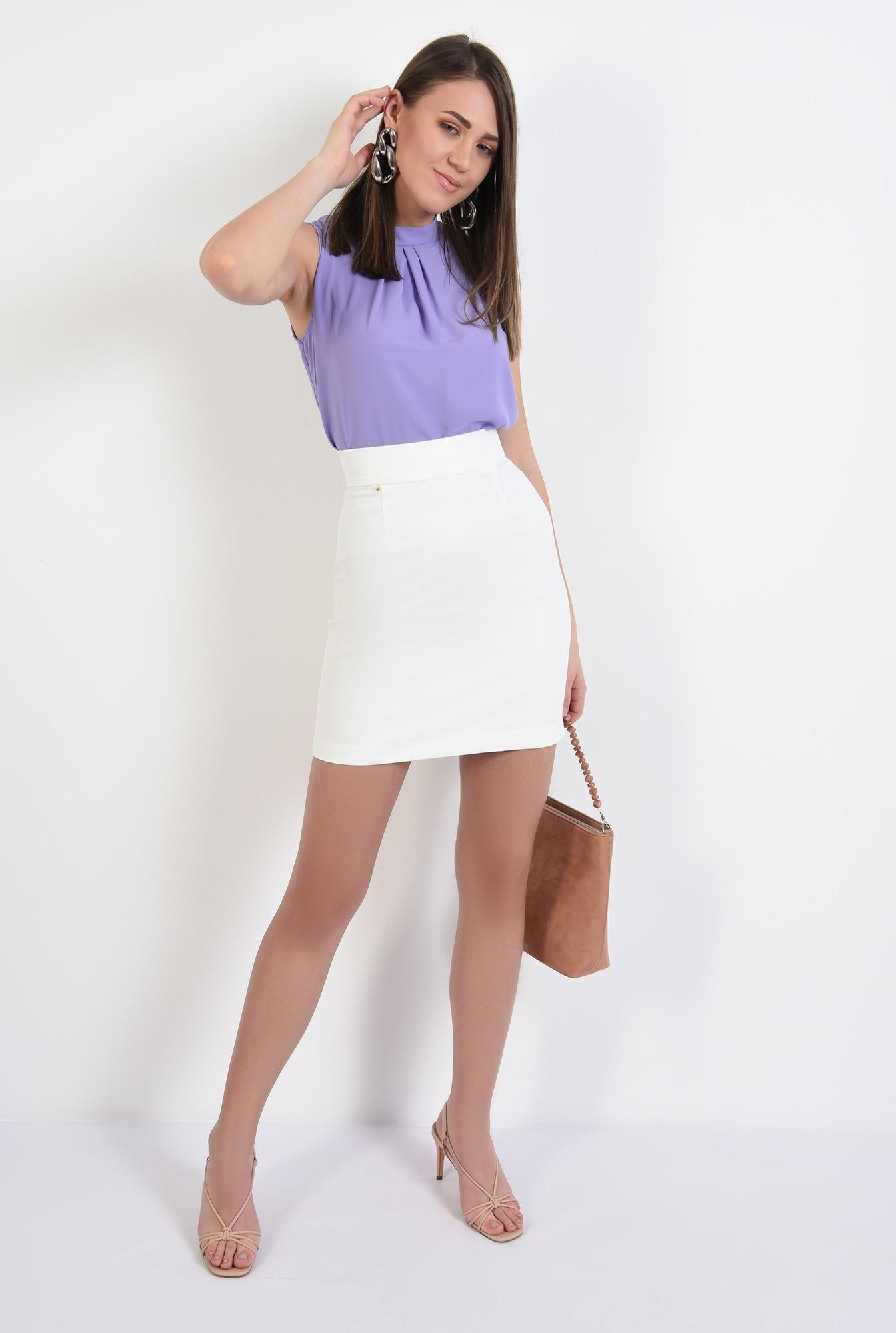 3 - bluza office, pliuri, guler mic, lila, bluza de primavara