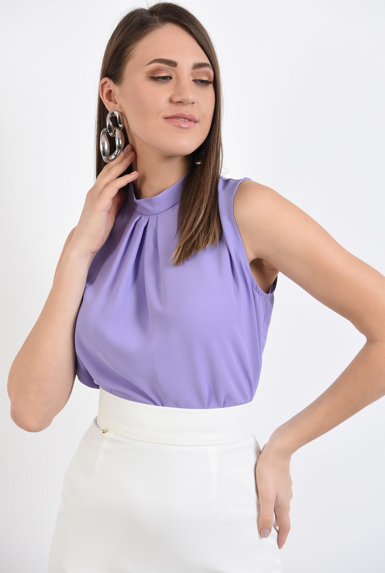 2 - bluza office, pliuri, guler mic, lila, bluza de primavara