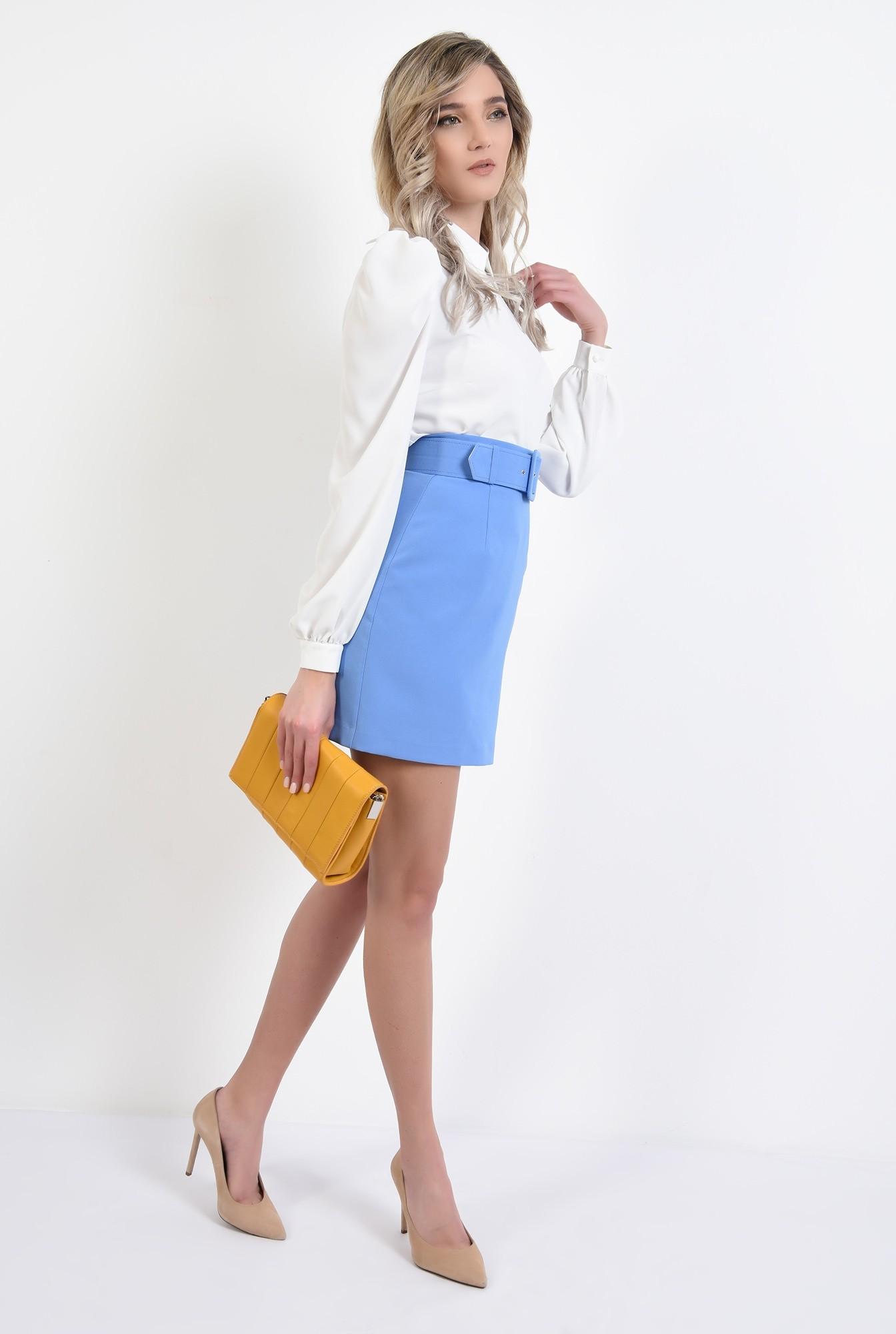 3 - bluza office, maneca lunga, guler rotunjit, ivoar, bluza de primavara