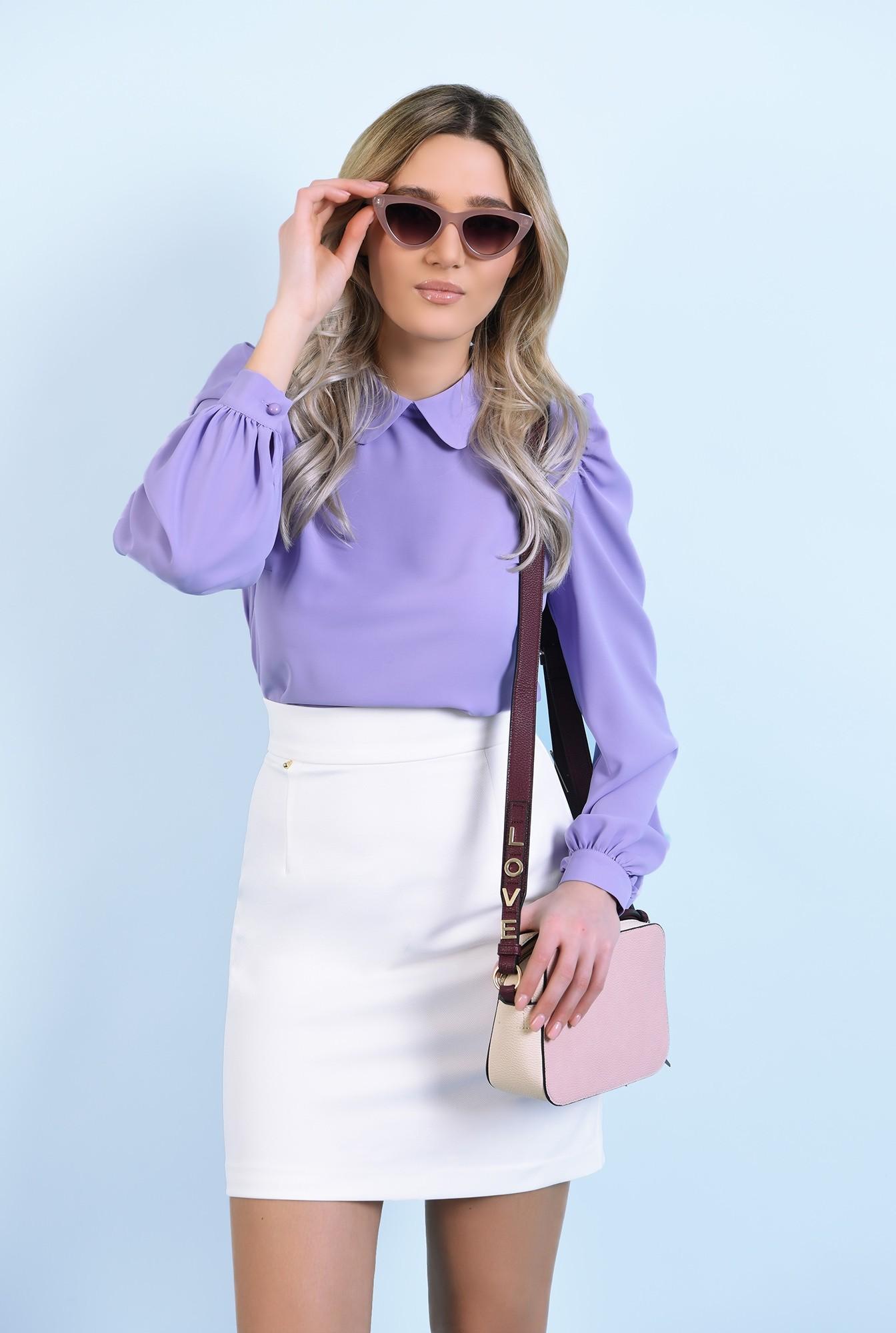 0 - 360 - bluza casual, lila, cu guler rotunjit, maneci lungi, inchidere cu butoniera