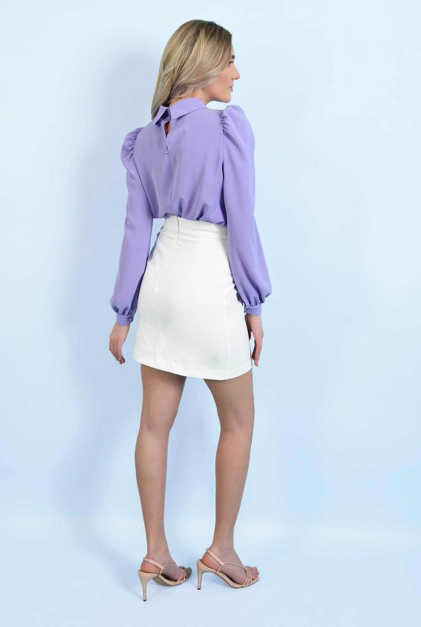 1 - 360 - bluza casual, lila, cu guler rotunjit, maneci lungi, inchidere cu butoniera