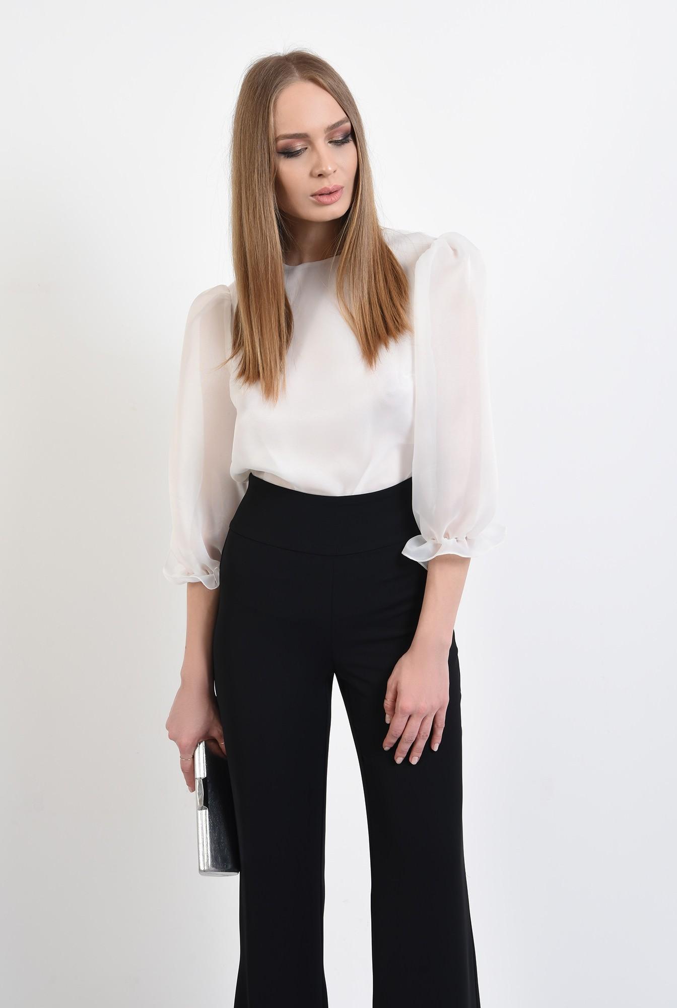 0 - 360 - bluza eleganta, de ocazie, din organza, cu maneci bufante, mansete volan