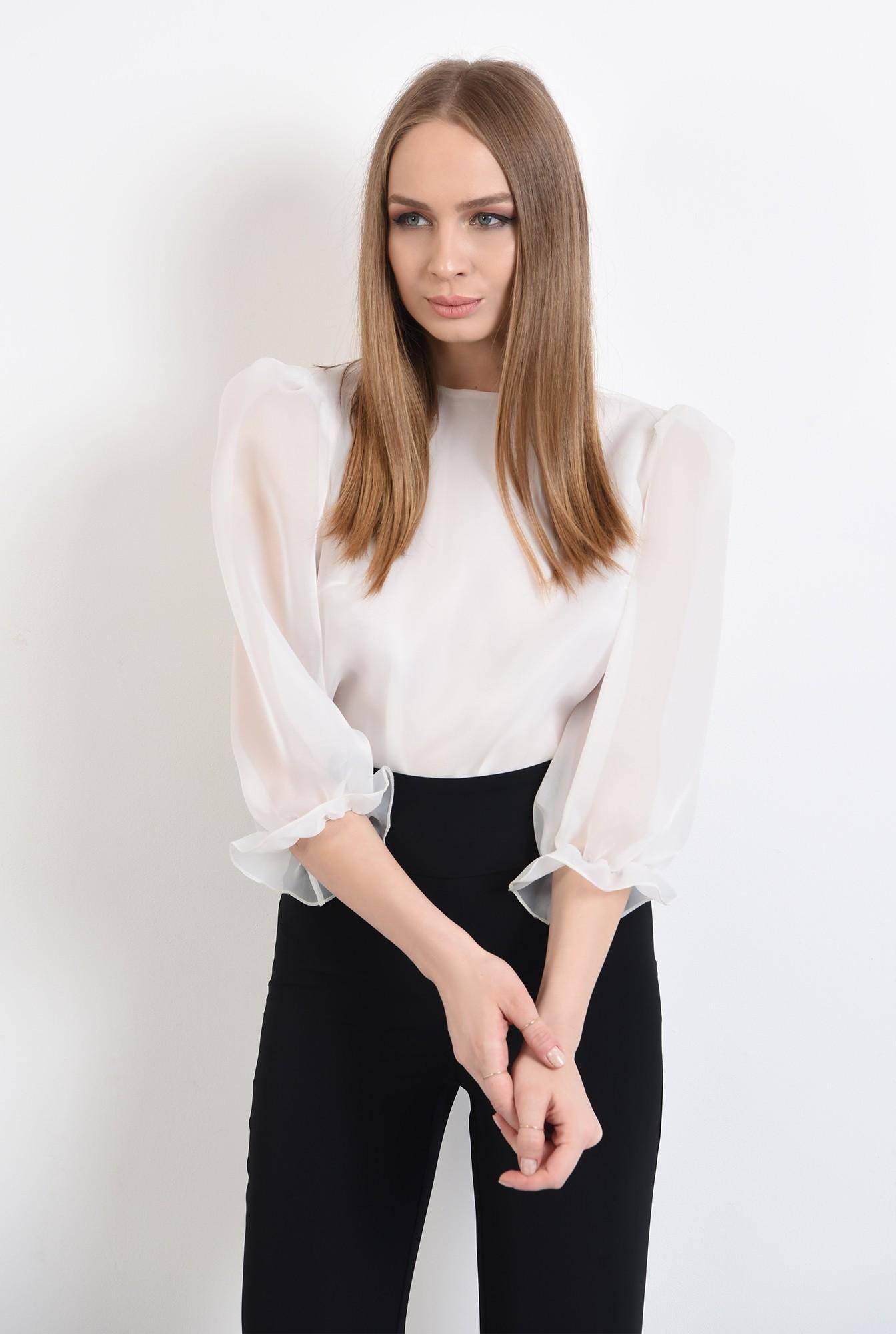 2 -  bluza eleganta, de ocazie, din organza, cu maneci bufante, mansete volan