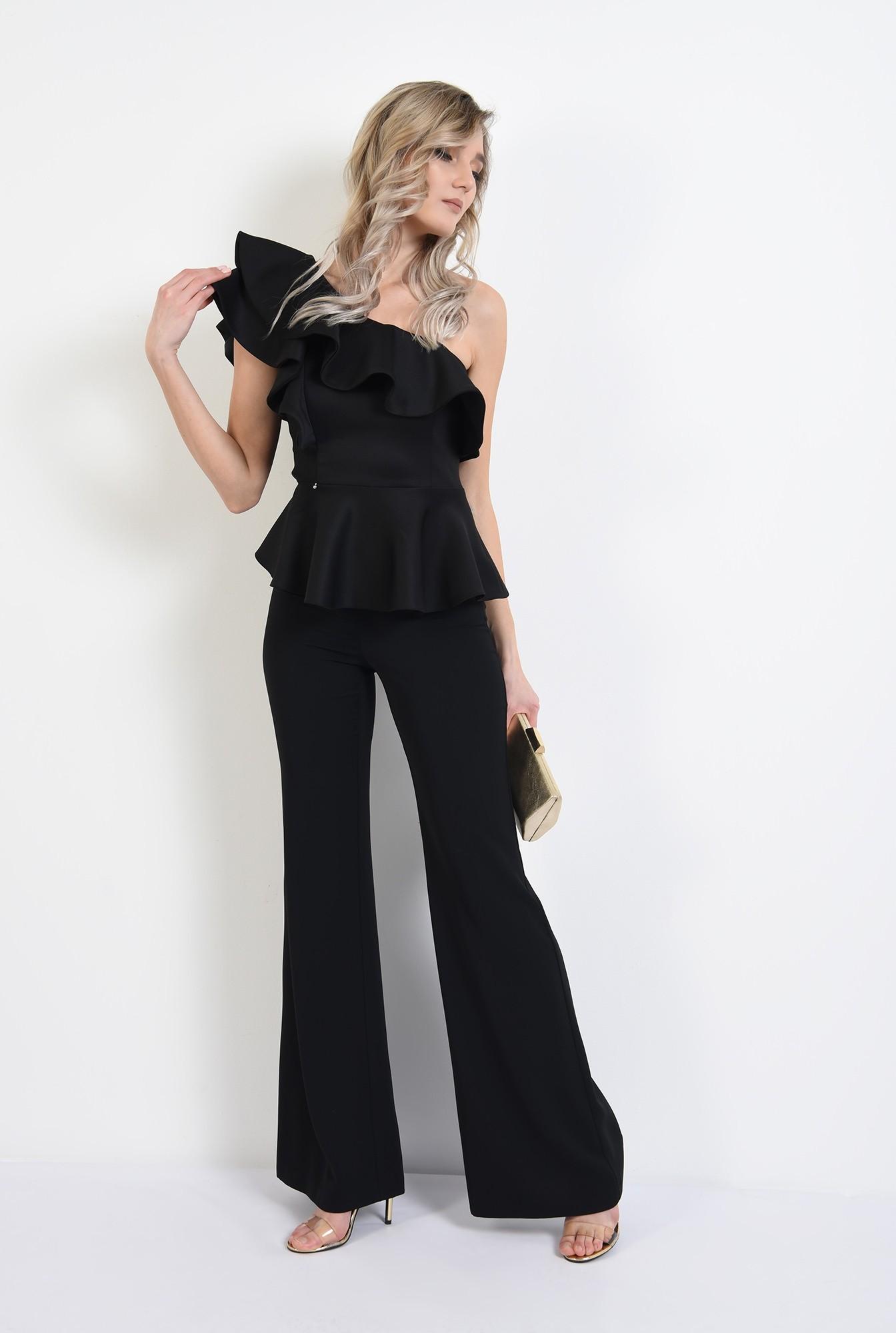 3 - 360 - bluza eleganta, neagra, cu volane, cu peplum, bluza de ocazie