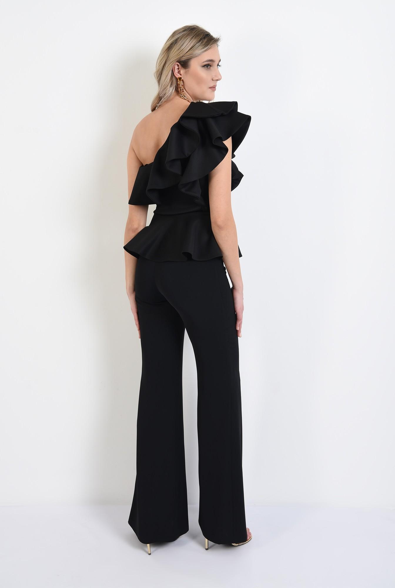 1 - 360 - bluza eleganta, neagra, cu volane, cu peplum, bluza de ocazie