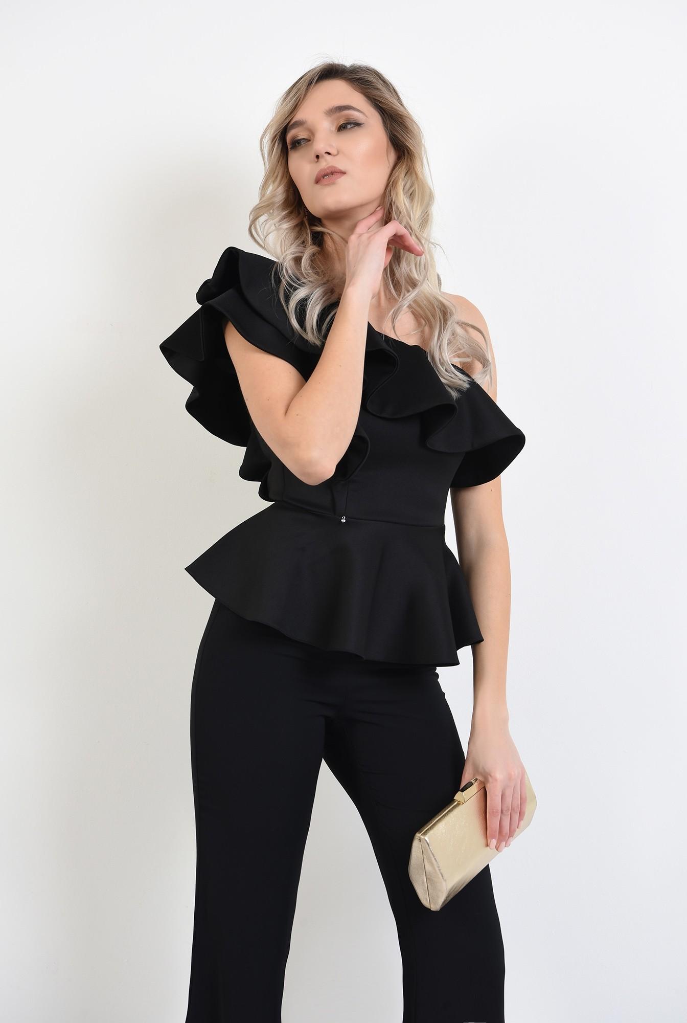 0 - 360 - bluza eleganta, neagra, cu volane, cu peplum, bluza de ocazie