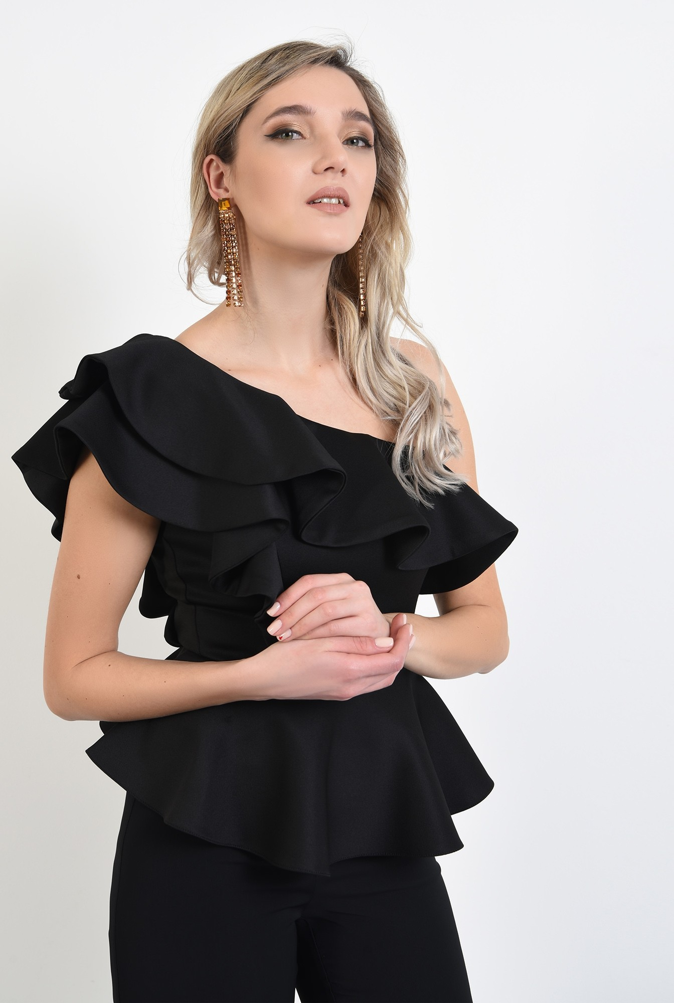 2 - 360 - bluza eleganta, neagra, cu volane, cu peplum, bluza de ocazie