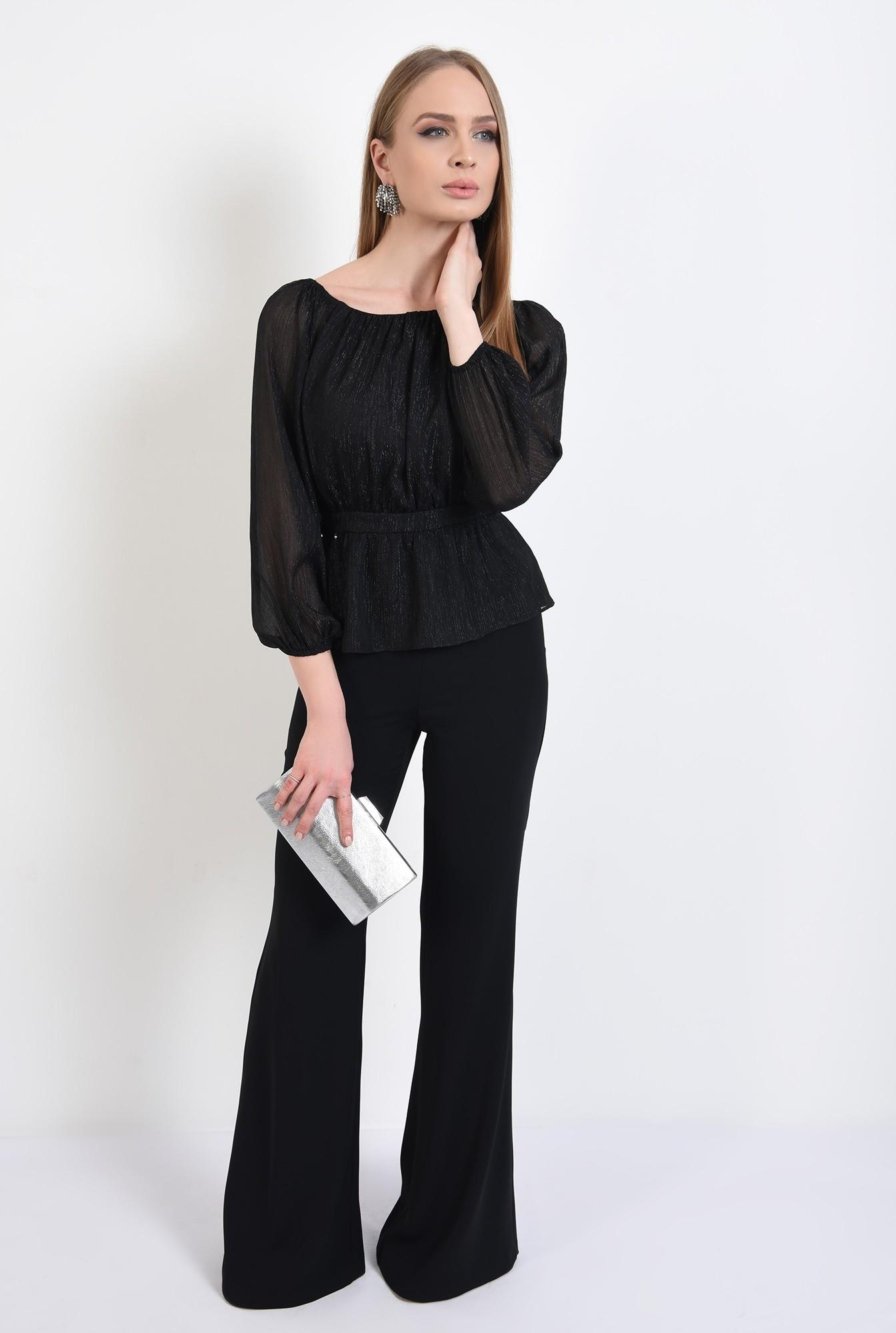 3 - bluza de ocazie, neagra, cu peplum, maneci bufante, nasturi la spate, Poema