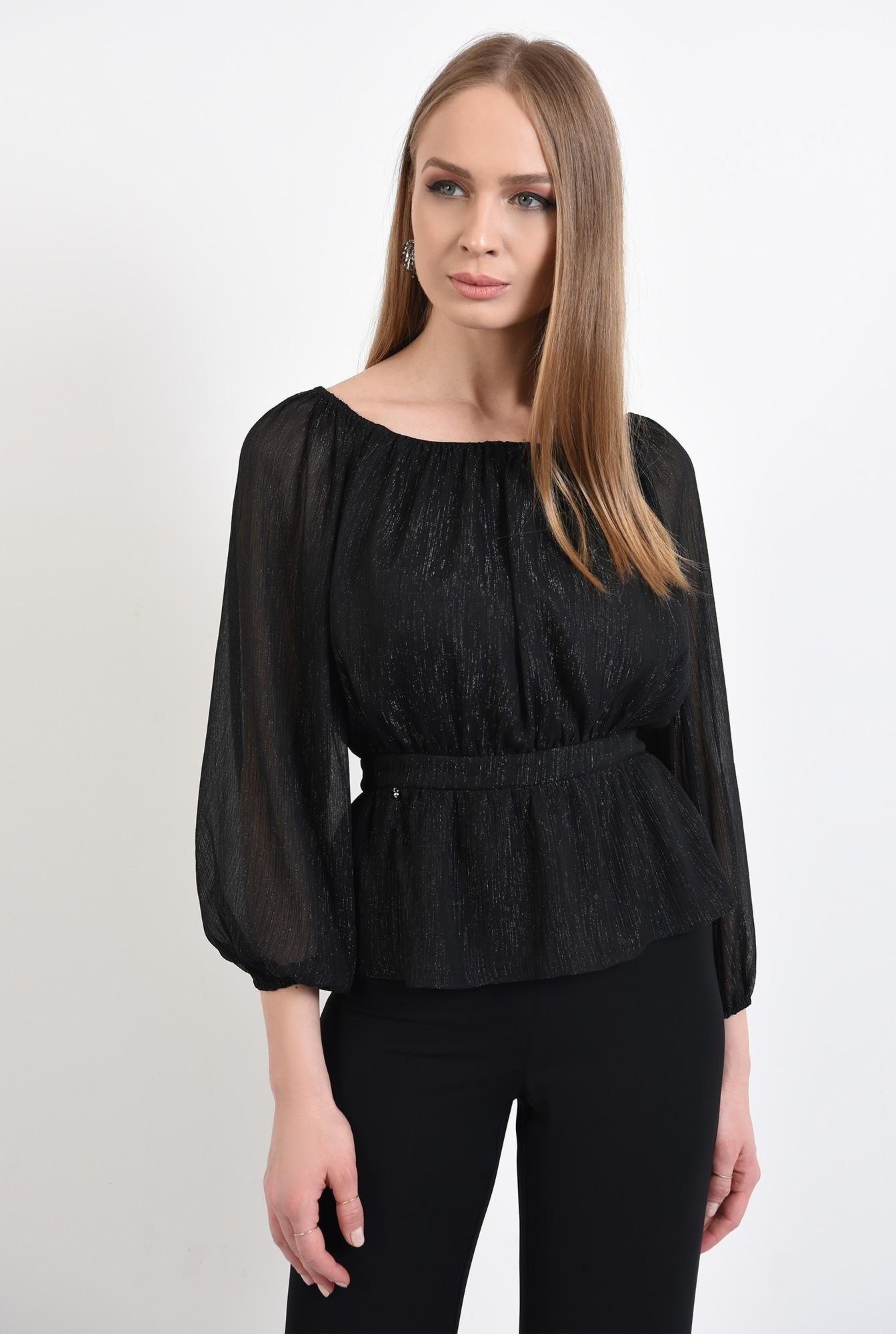 2 - bluza de ocazie, neagra, cu peplum, maneci bufante, nasturi la spate, Poema