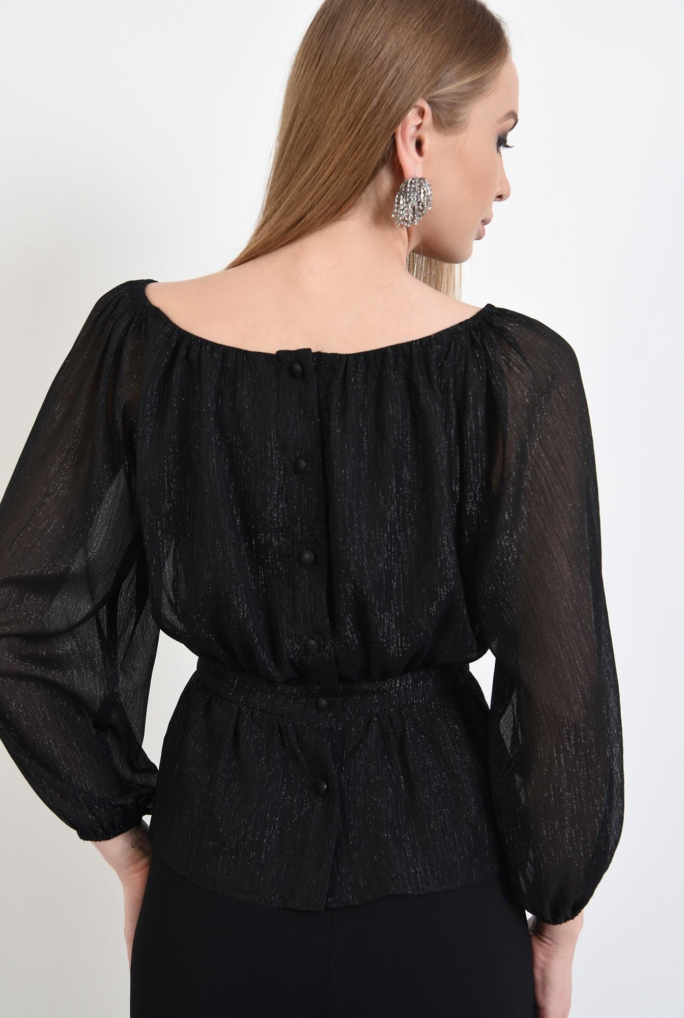 1 - bluza de ocazie, neagra, cu peplum, maneci bufante, nasturi la spate, Poema
