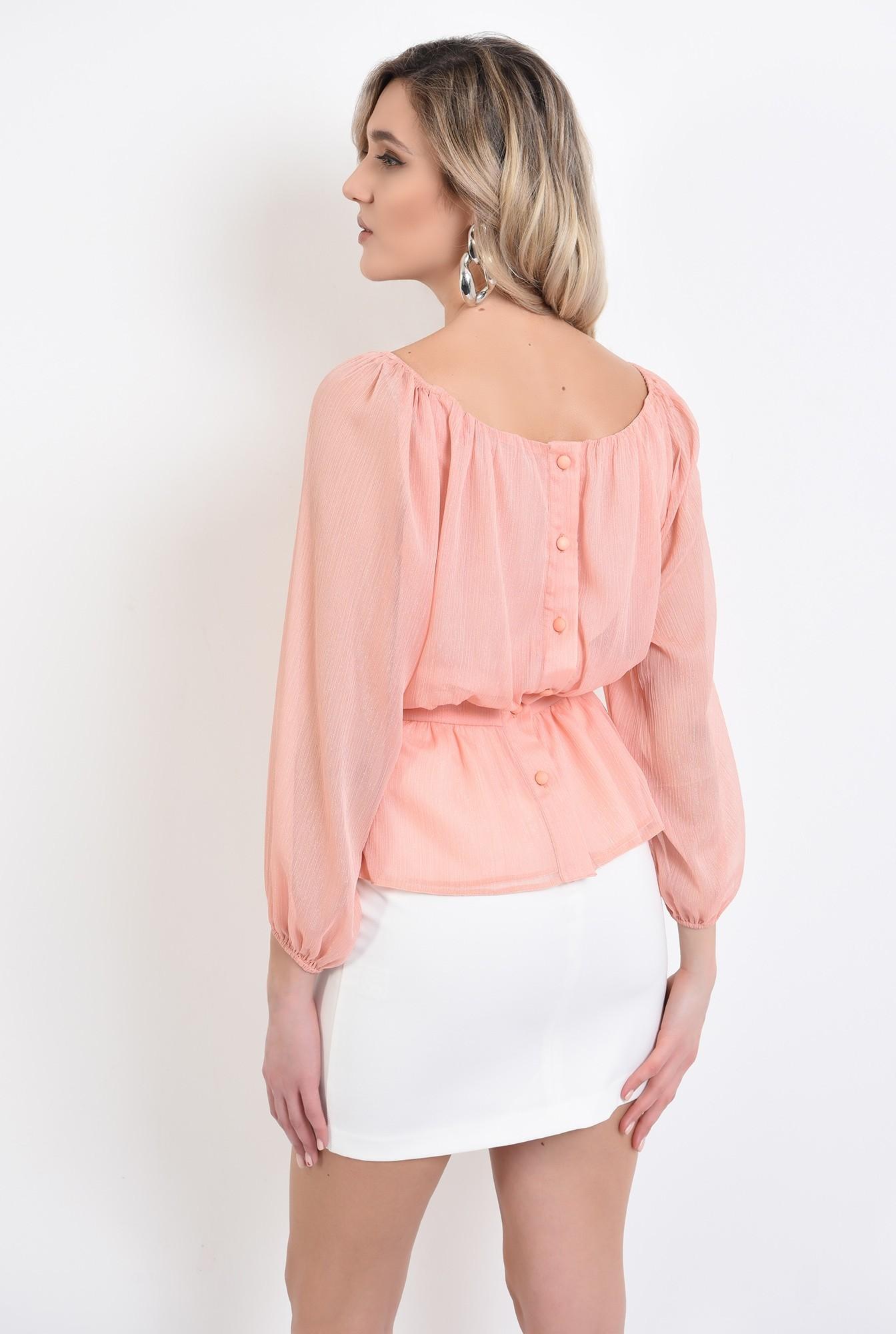 1 - bluza de ocazie, peach, maneca midi, cu peplum, nasturi la spate