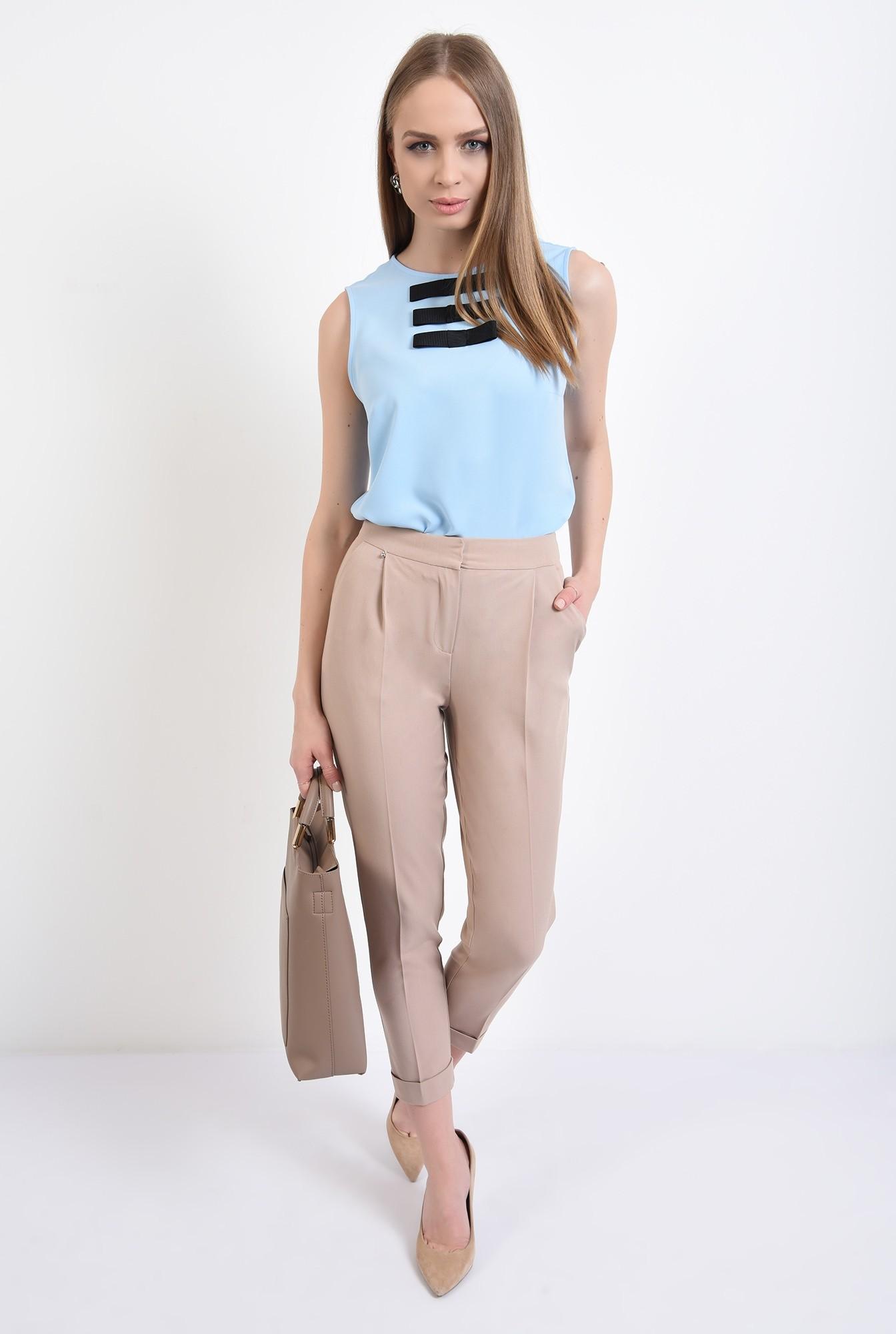 3 - bluza bleu, fara maneci, cu funde negre, bluza office