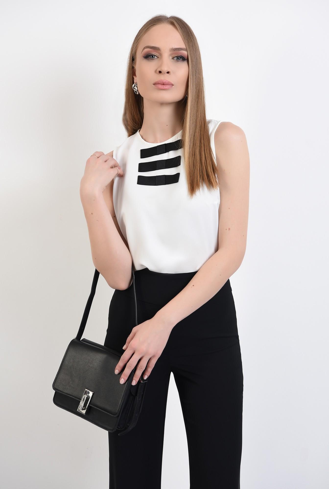 0 -  bluza office, fara maneci, cu funde in contrast, bluza de zi