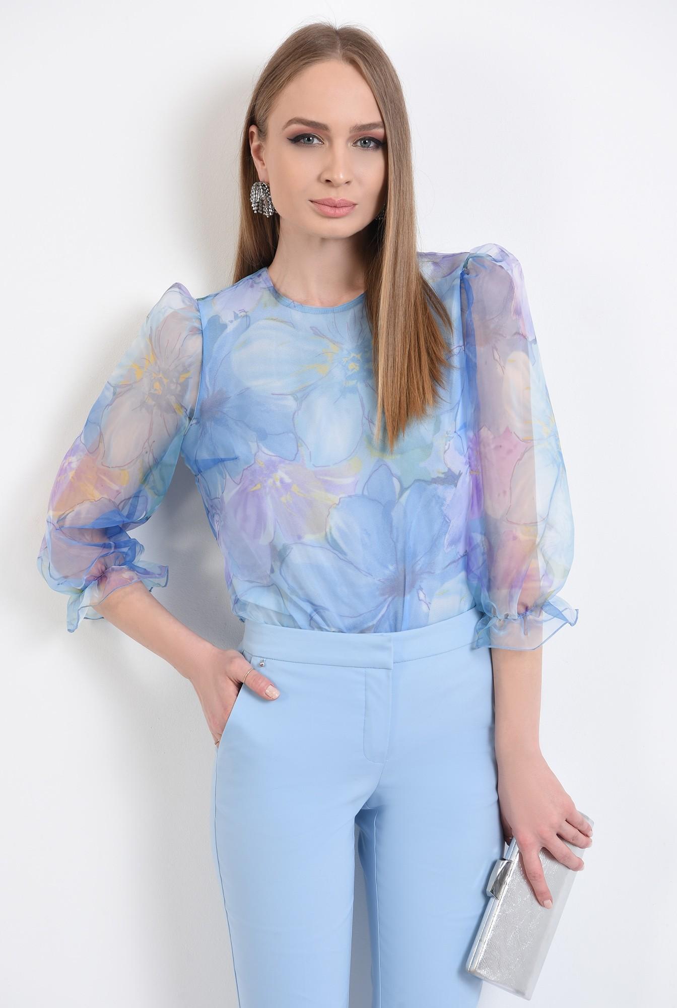 2 -  bluza eleganta, din organza, cu imprimeu, cu maneci bufante, funde la spate