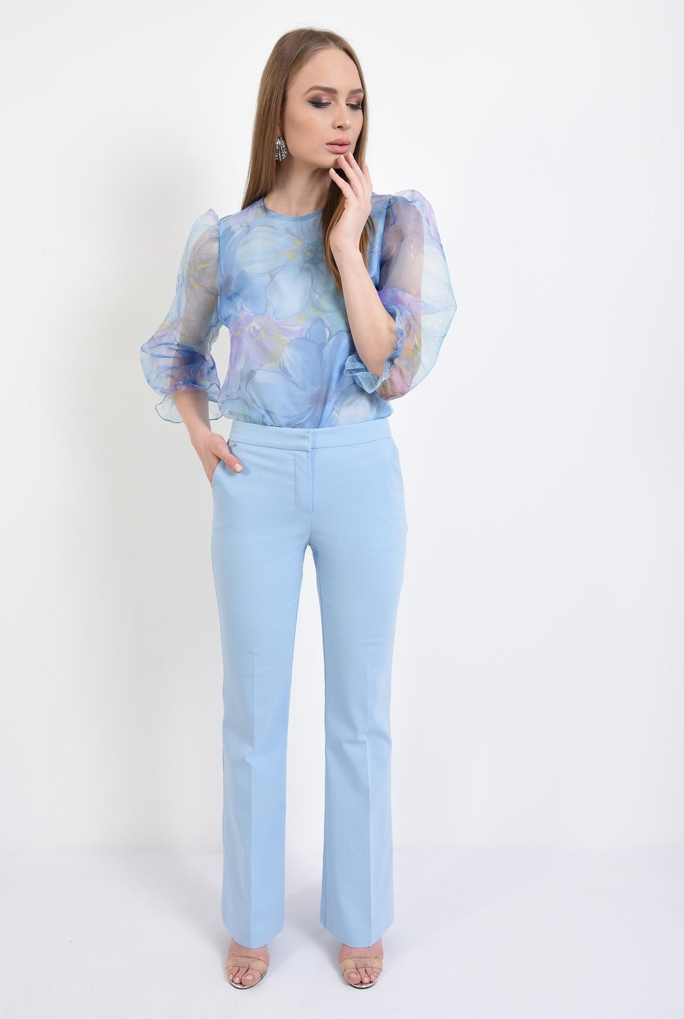 3 -  bluza eleganta, din organza, cu imprimeu, cu maneci bufante, funde la spate