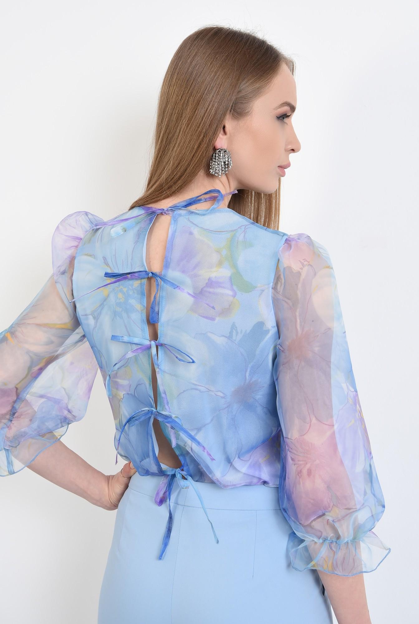 1 -  bluza eleganta, din organza, cu imprimeu, cu maneci bufante, funde la spate