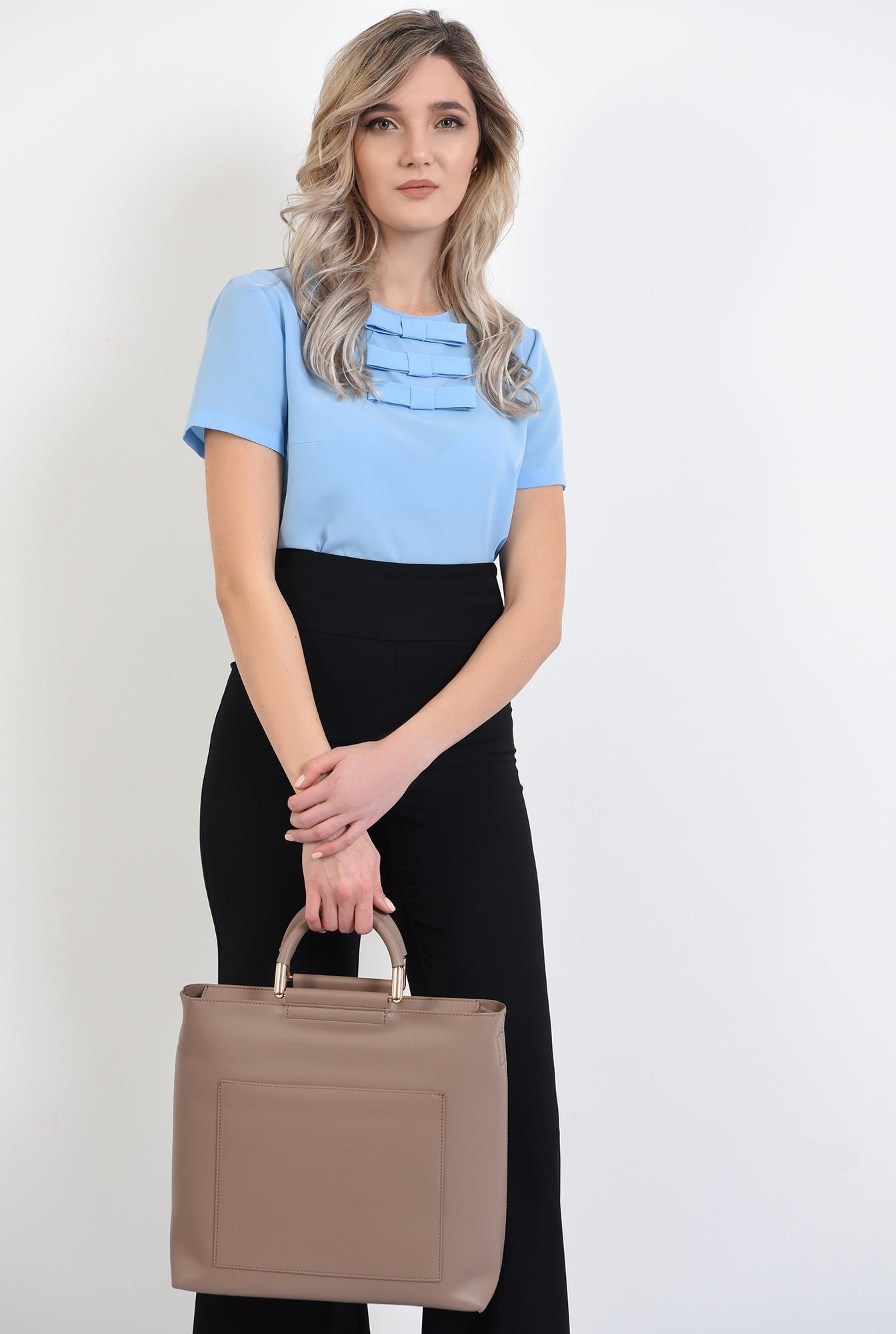0 -  bluza de zi, office, cu maneci scurte, cu funde, bluza de birou