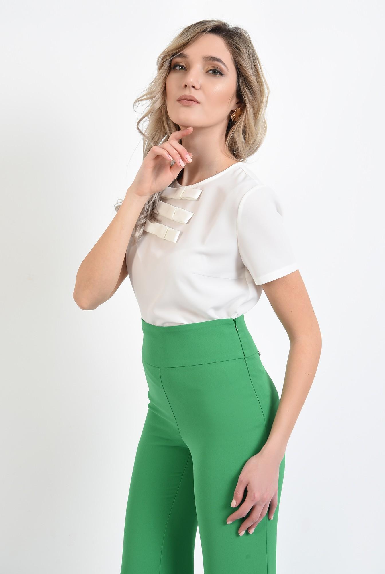 2 -  bluza de zi, office, cu maneci scurte, cu funde, bluza de birou