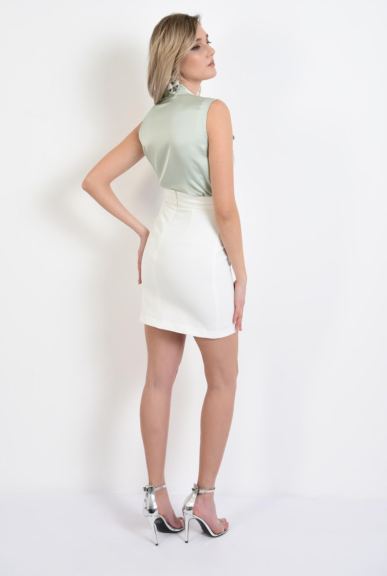 1 -  bluza eleganta, fara maneci, din satin, cu funda laterala