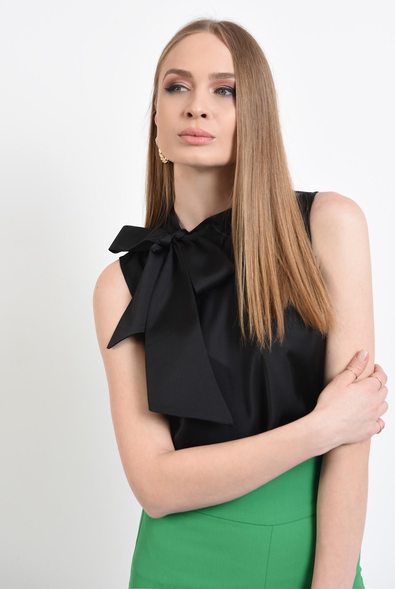 0 -  bluza eleganta, fara maneci, din satin, cu funda laterala