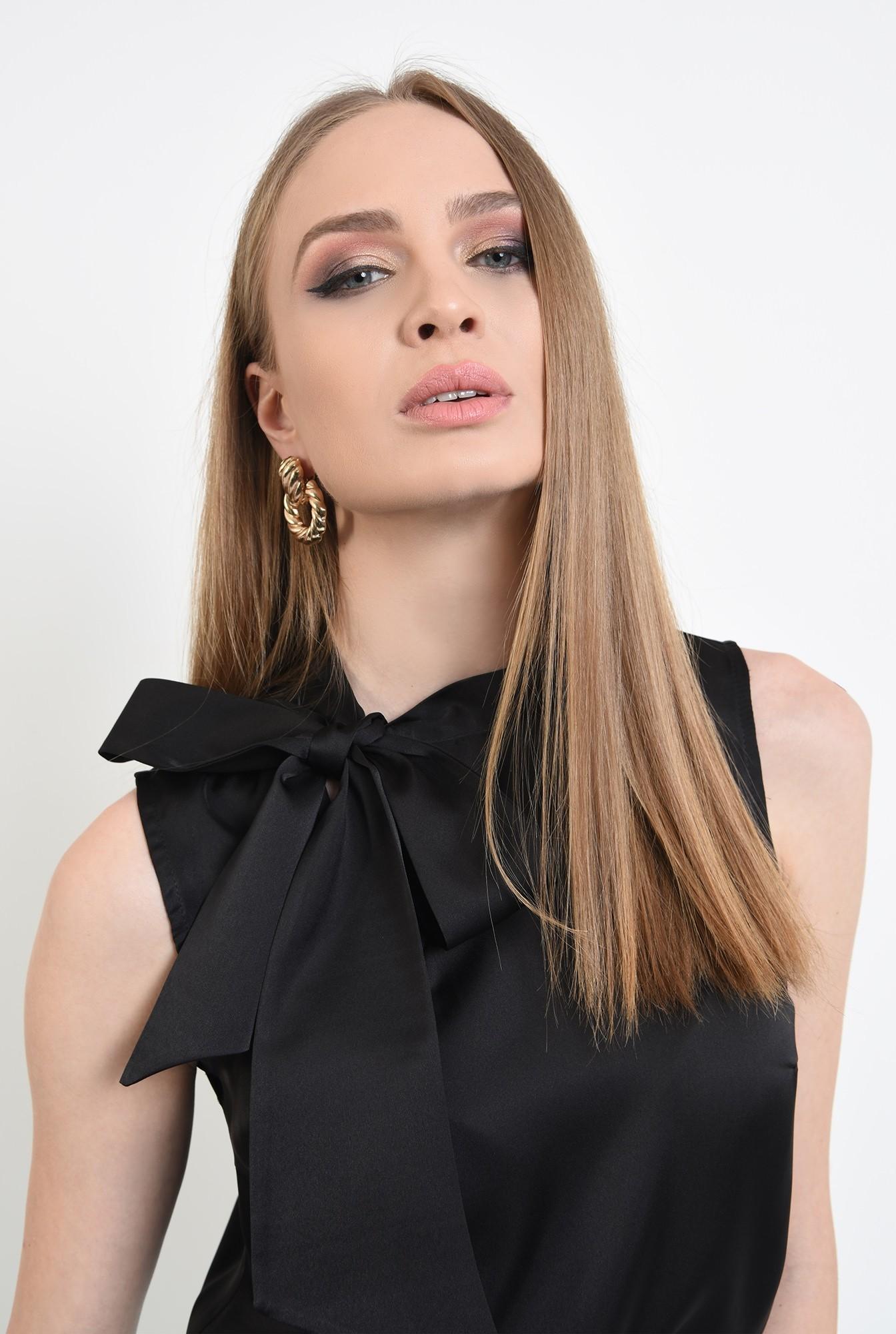 2 -  bluza eleganta, fara maneci, din satin, cu funda laterala