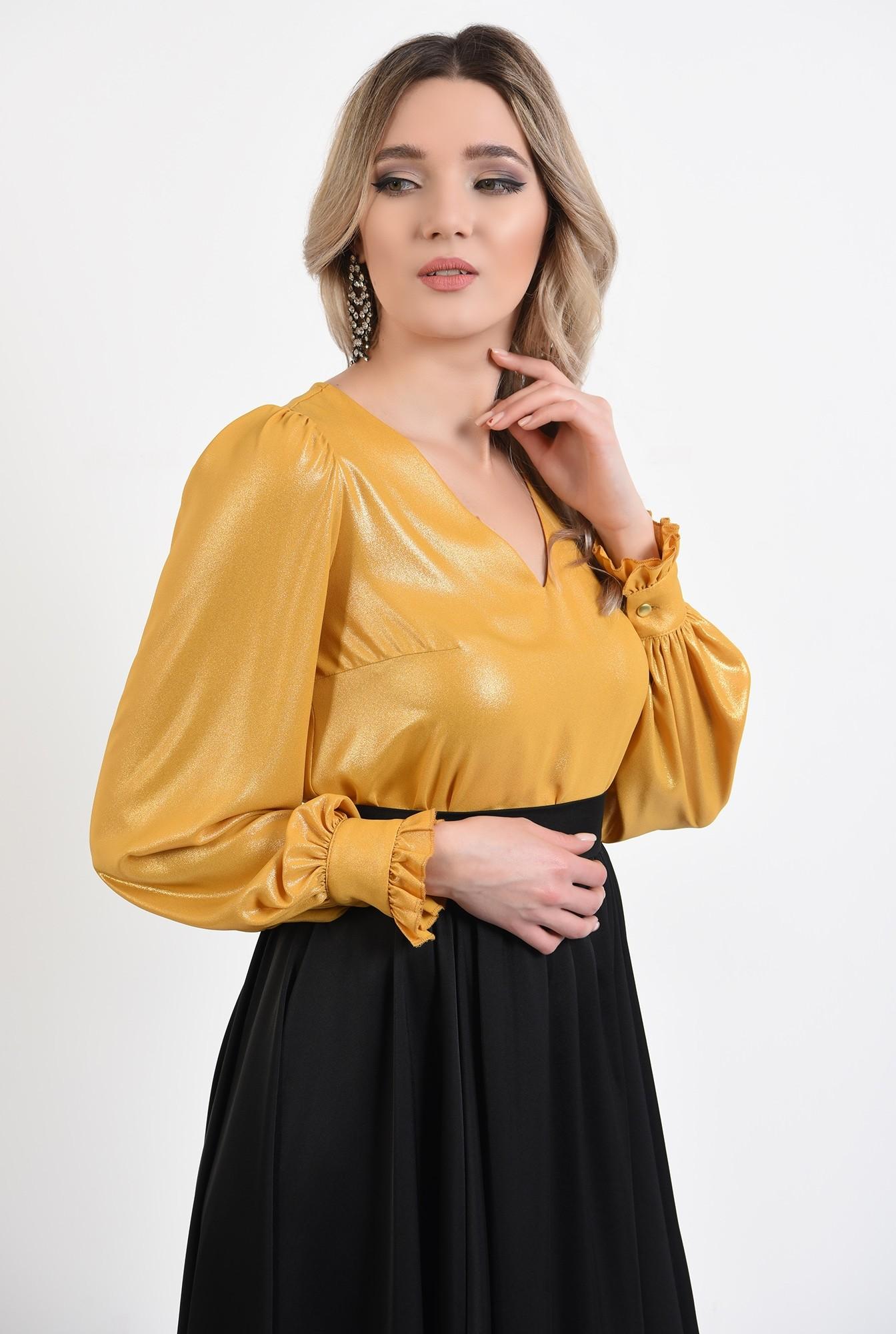 2 -  bluza eleganta, mustar, cu maneci bufante, cu anchior, tesatura lucioasa