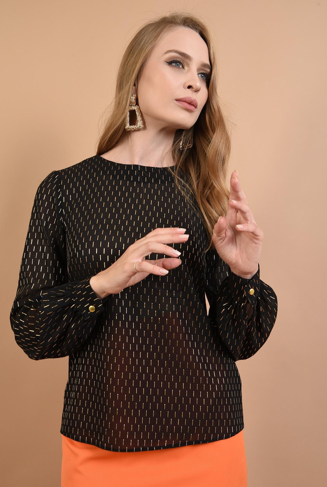 3 - bluza eleganta, din voal, cu detalii aurii, Poema