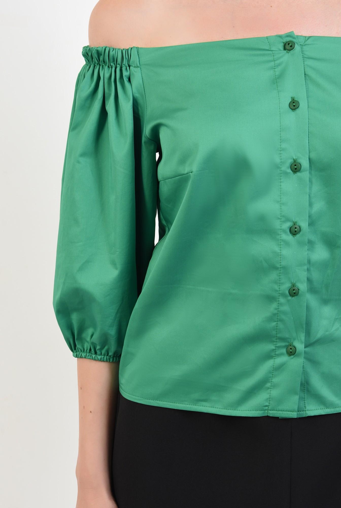 2 - 360 - bluza din bumbac, cu nasturi, verde, Poema