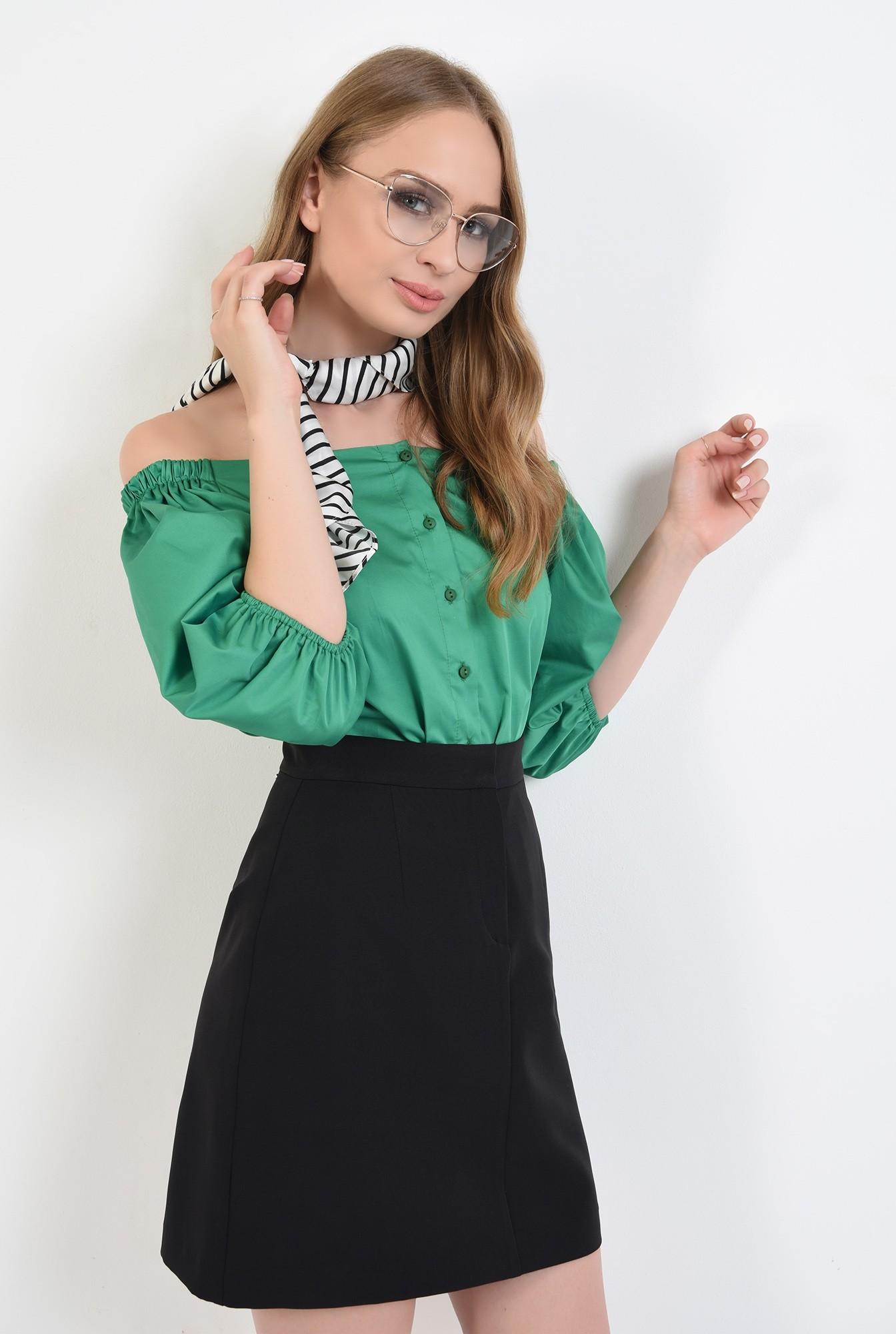 0 - 360 - bluza din bumbac, cu nasturi, verde, Poema