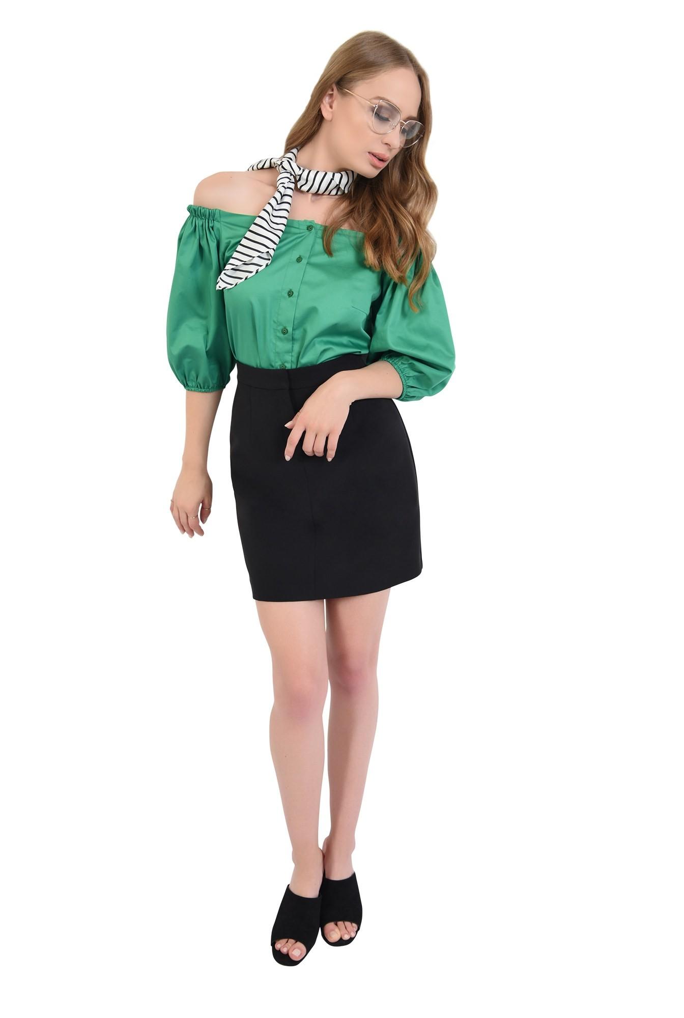 3 - 360 - bluza din bumbac, cu nasturi, verde, Poema