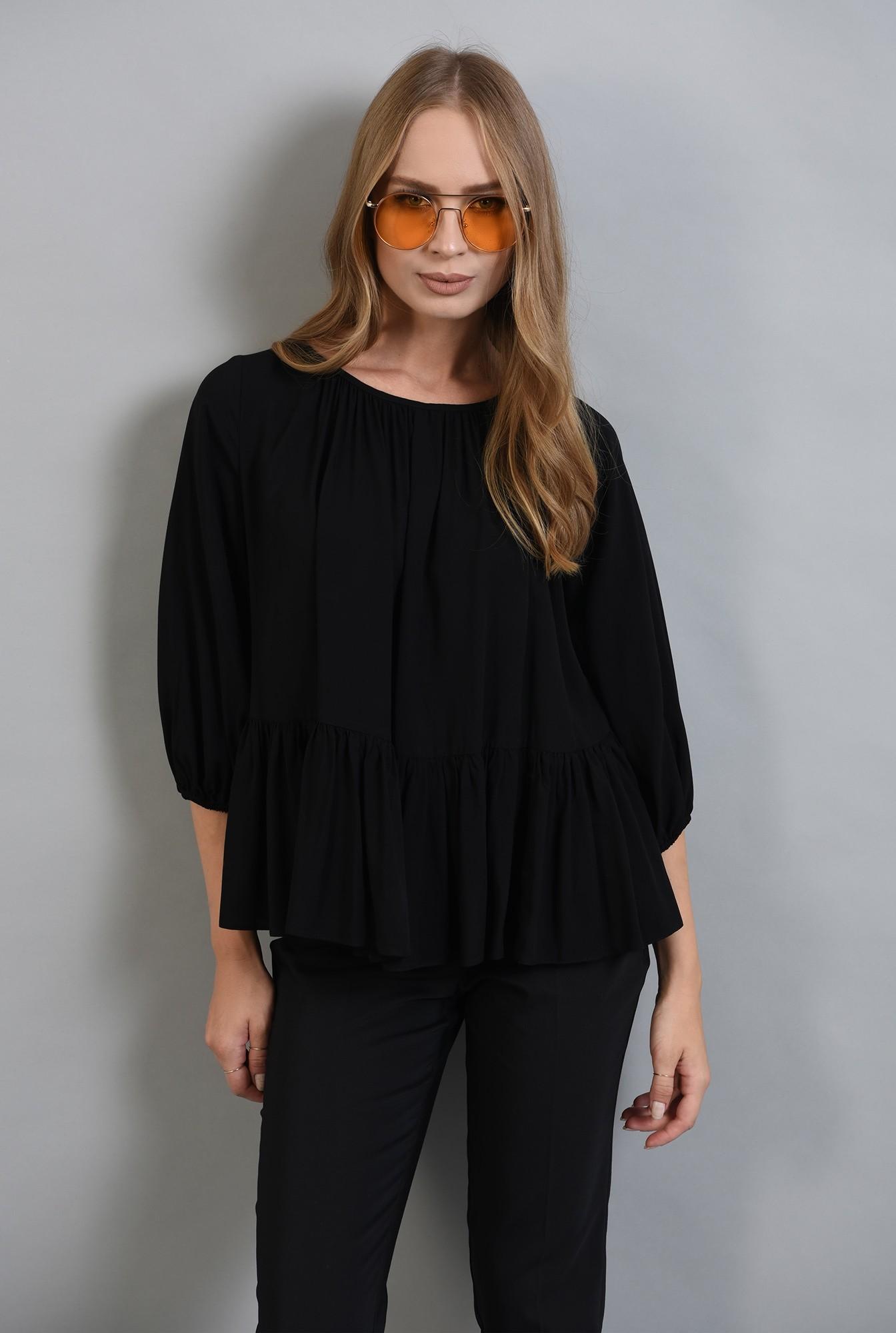 0 - 360 - bluza neagra cu peplum, maneca bufanta, Poema