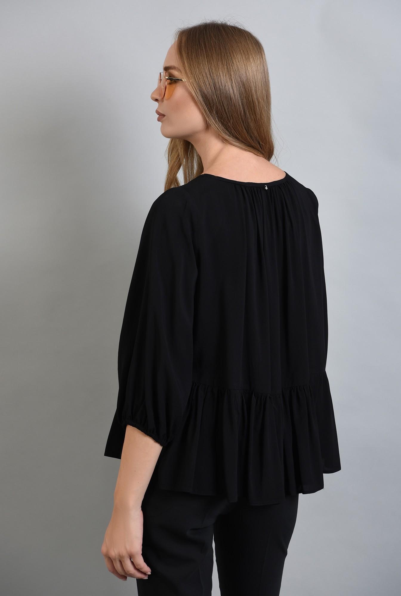 1 - 360 - bluza neagra cu peplum, maneca bufanta, Poema