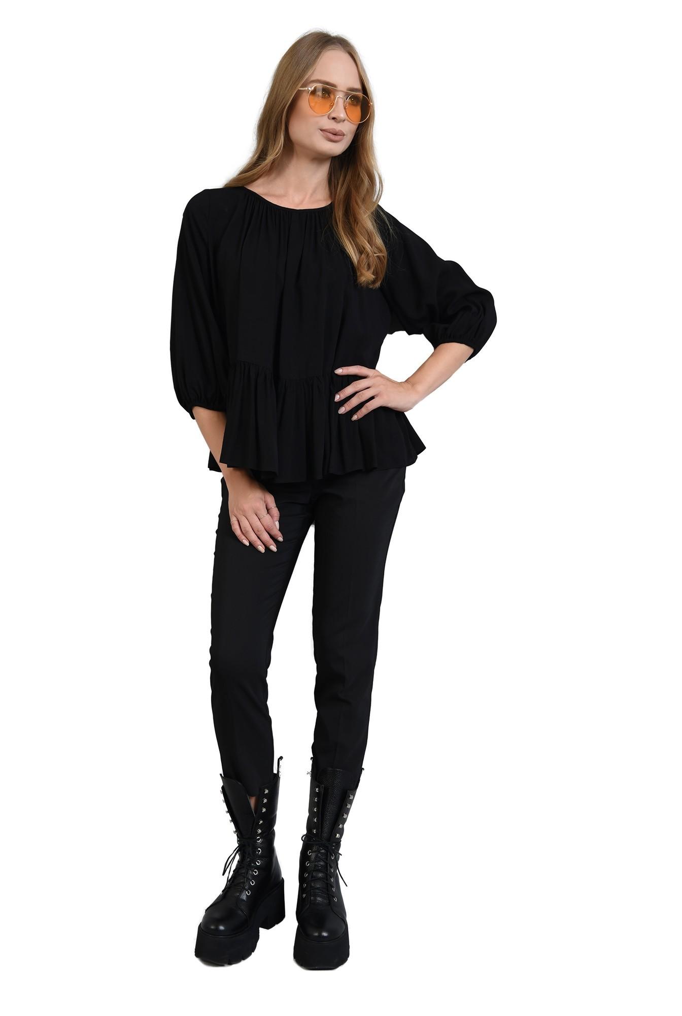3 - 360 - bluza neagra cu peplum, maneca bufanta, Poema
