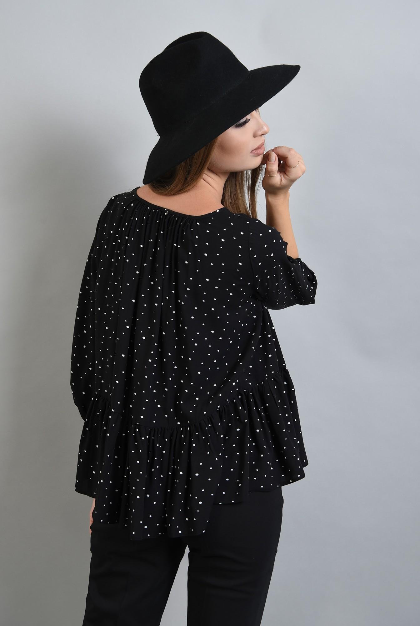 1 - bluza neagra cu buline, peplum, Poema