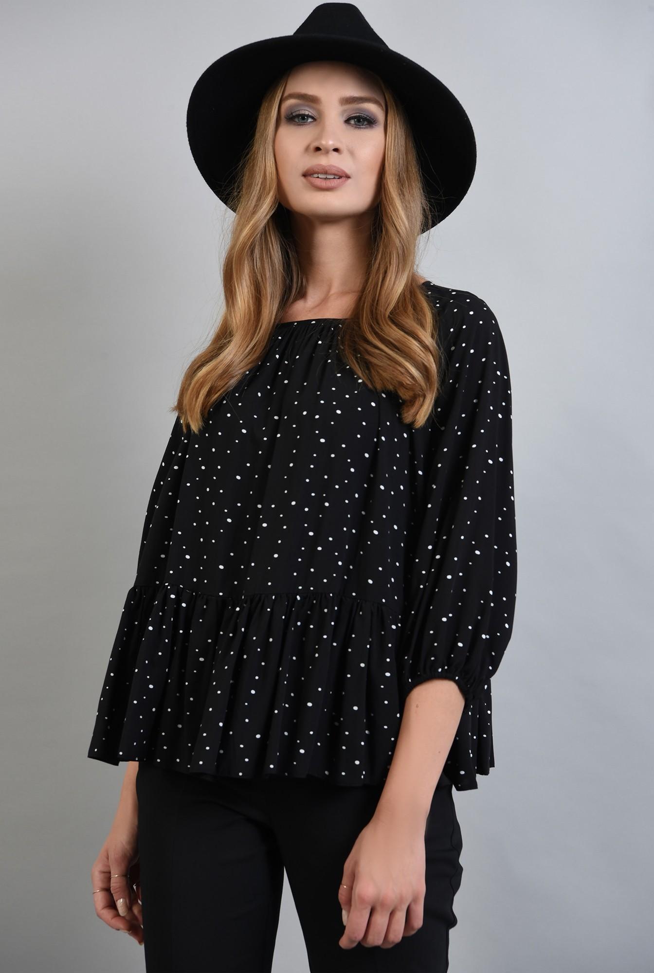 0 - bluza neagra cu buline, peplum, Poema