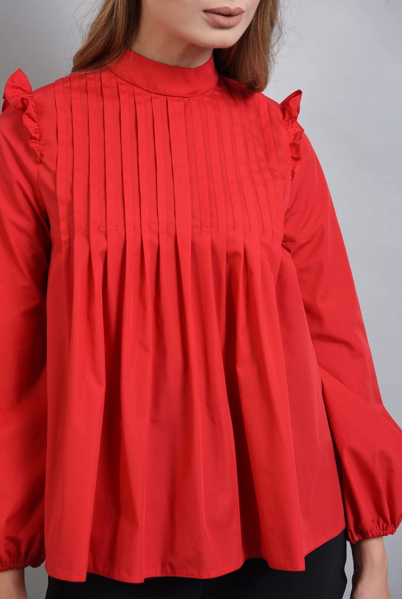 2 - 360 - bluza rosie din bumbac, cu pliuri si volan, Poema