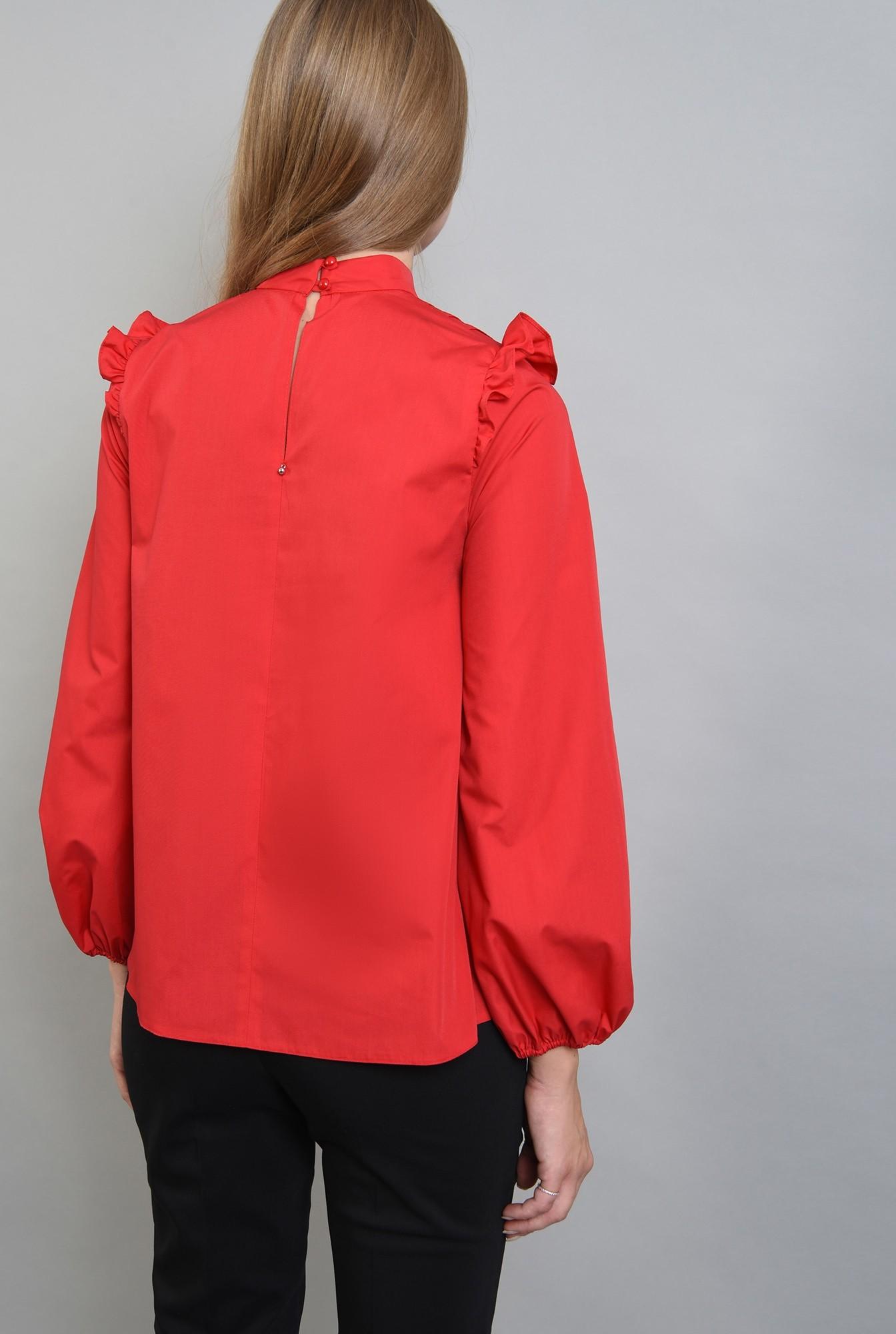 1 - 360 - bluza rosie din bumbac, cu pliuri si volan, Poema