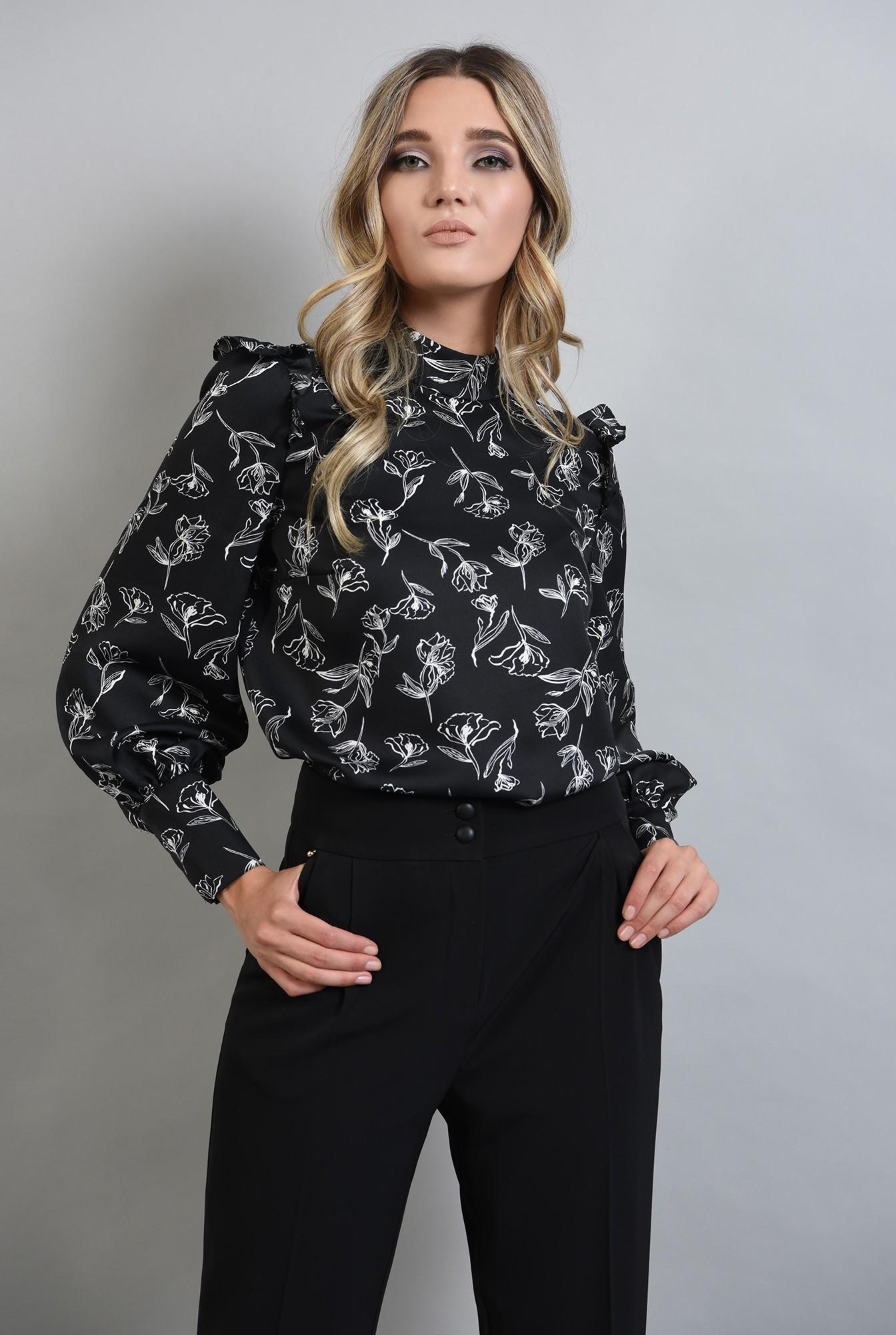 0 - bluza din satin cu volane si guler
