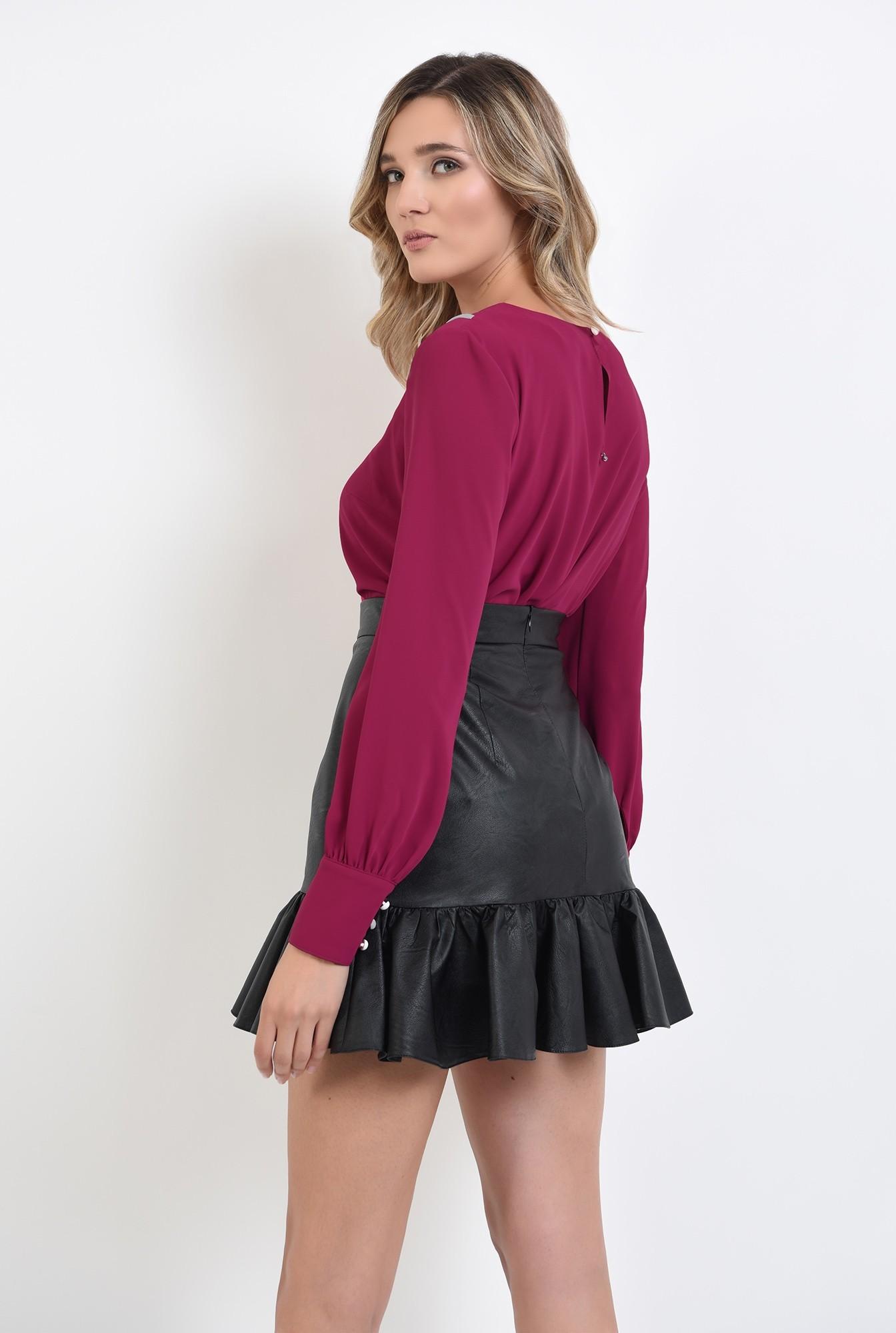 1 - bluza roz, casual, cu guler, Poema